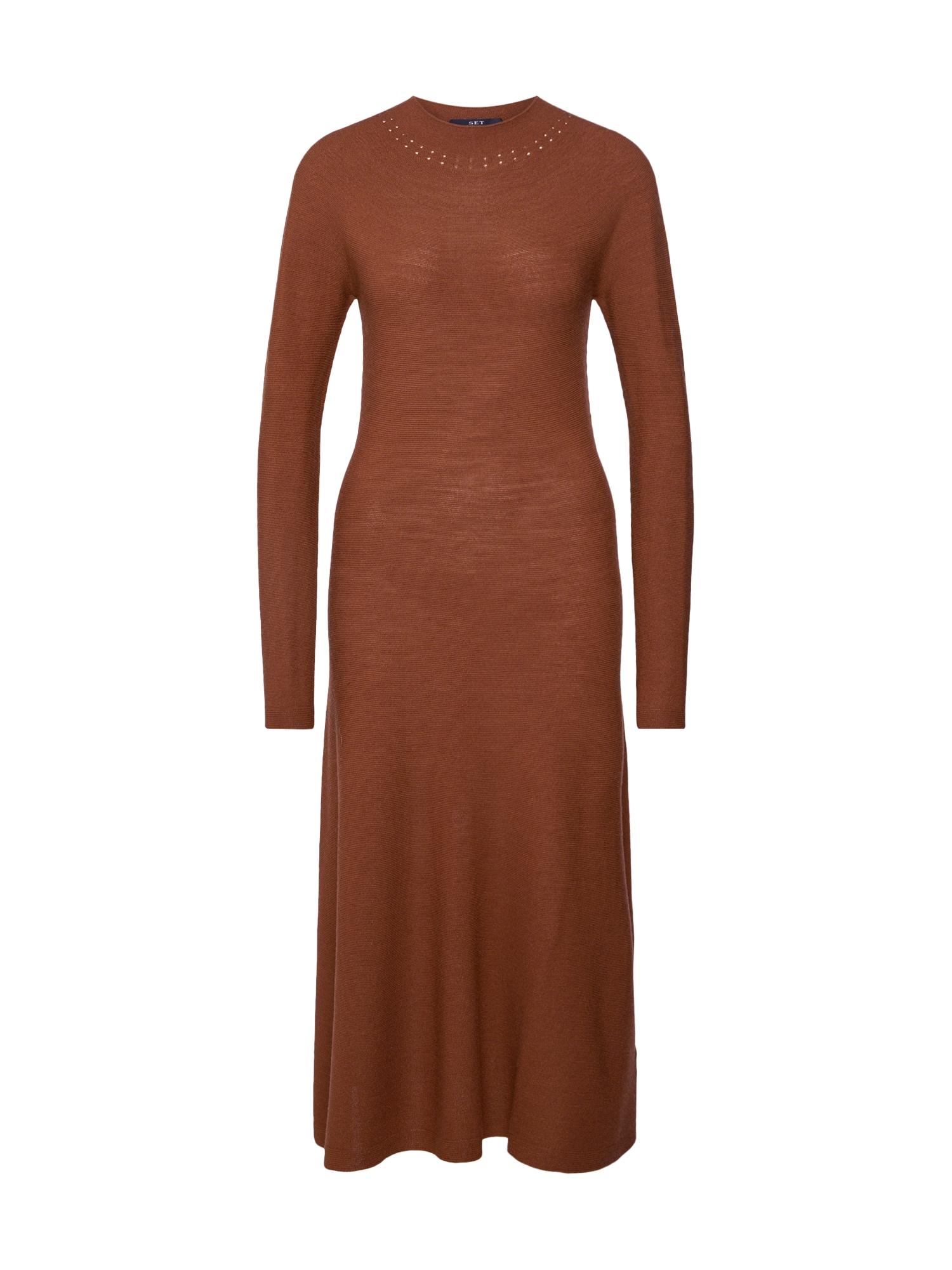 SET Megzta suknelė ruda