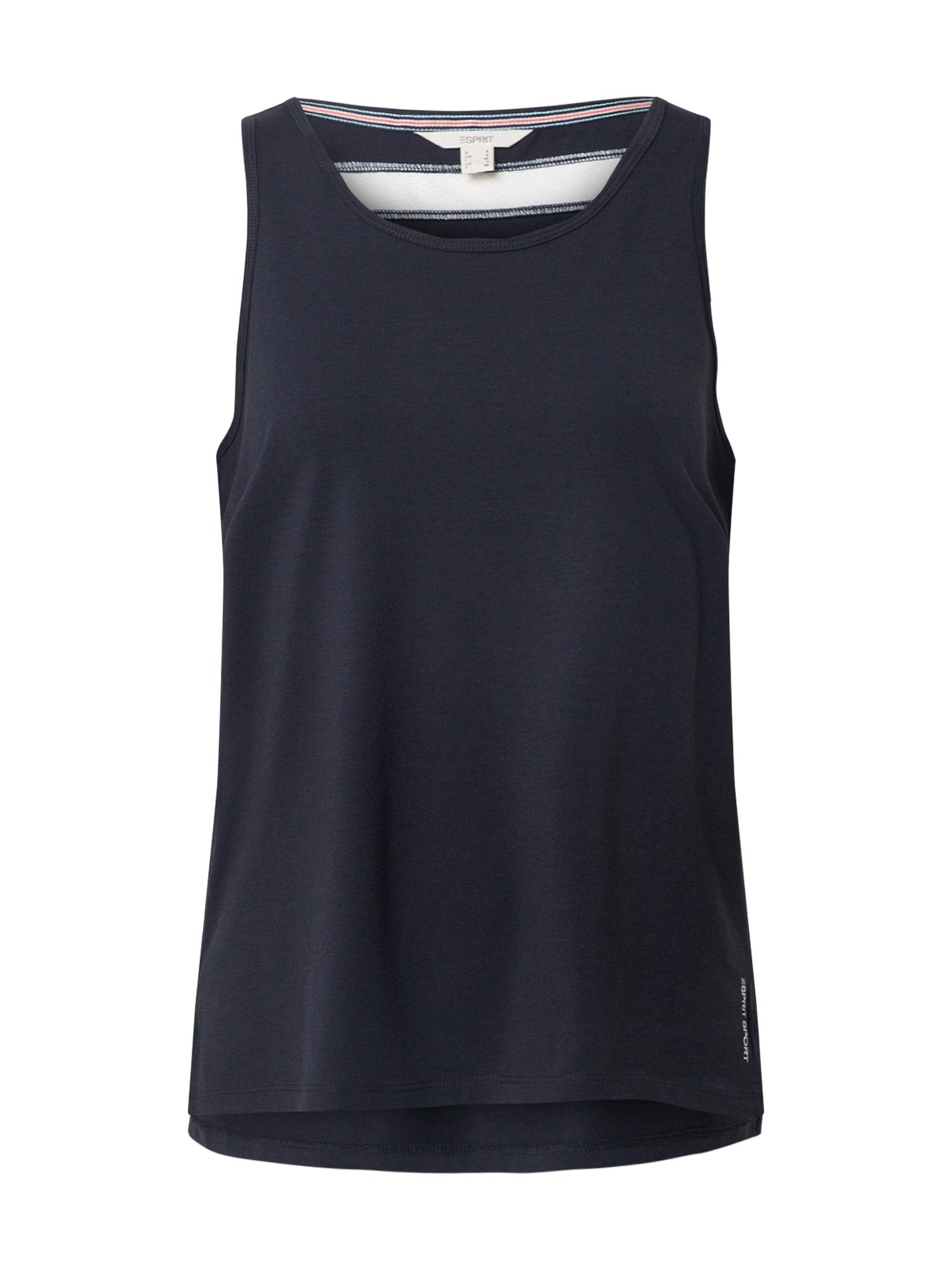 ESPRIT SPORT Sportiniai marškinėliai be rankovių tamsiai mėlyna / balta