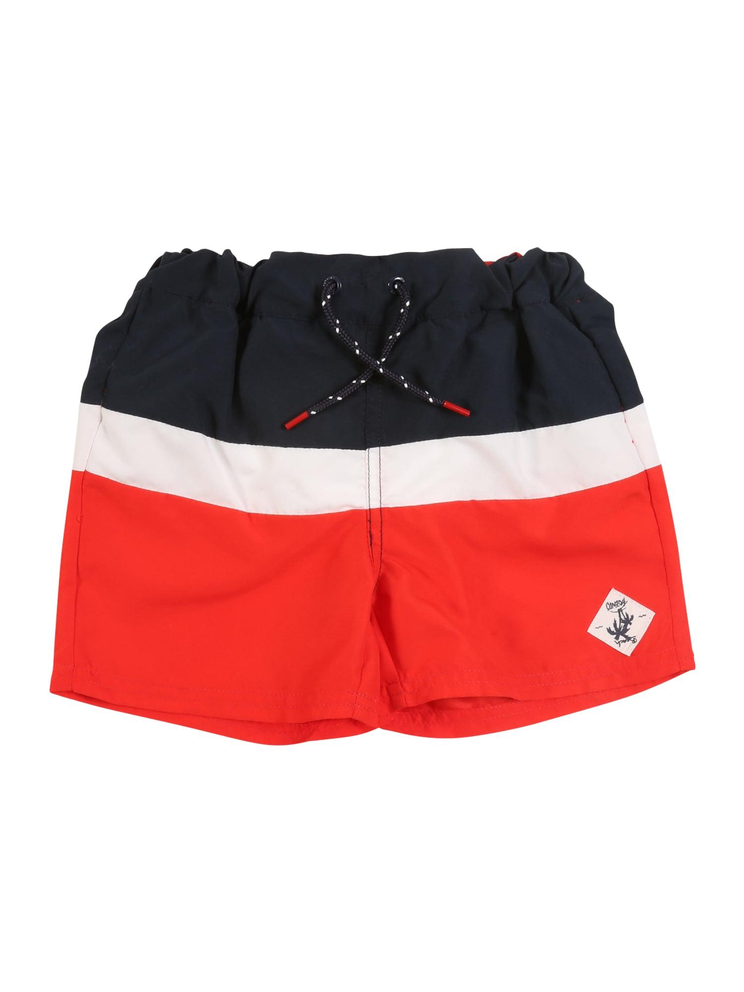 NAME IT Plavecké šortky  biela / červené / modré