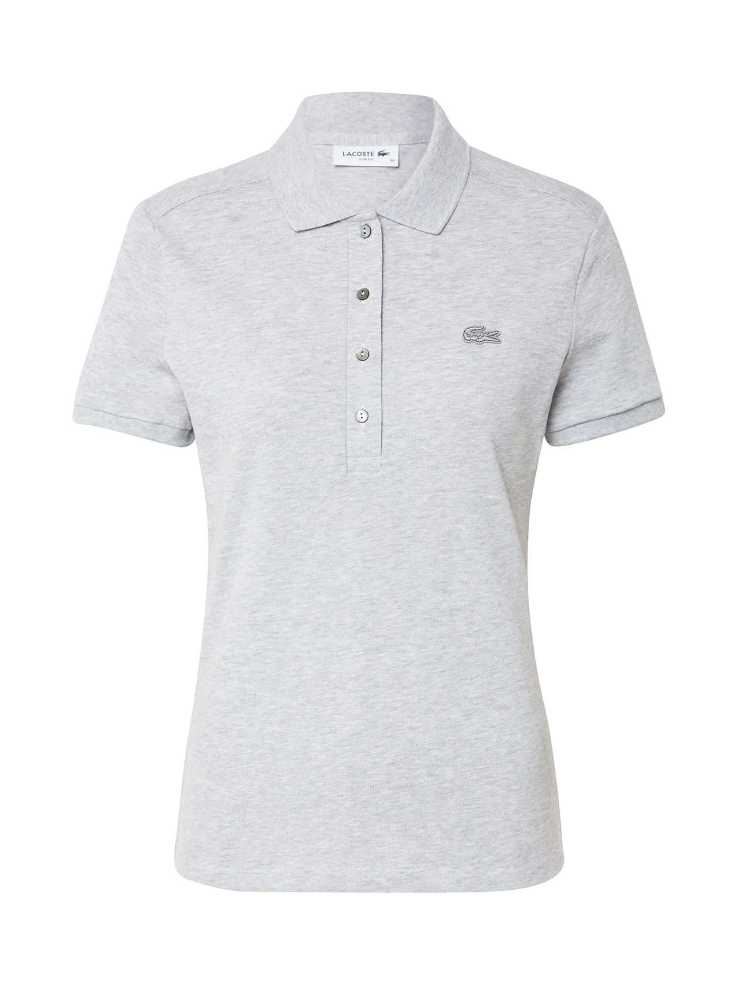 LACOSTE Marškinėliai 'CHEMISE COL BORD-COTES MA' sidabro pilka / tamsiai pilka