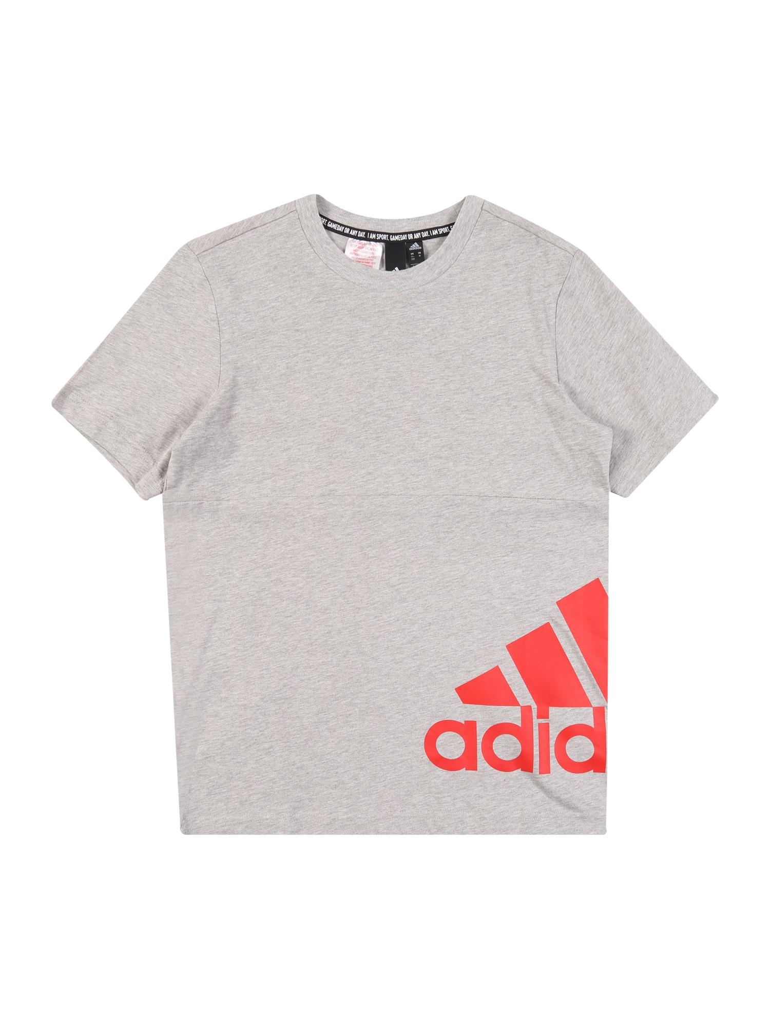 ADIDAS PERFORMANCE Funkčné tričko  sivá melírovaná / grenadínová
