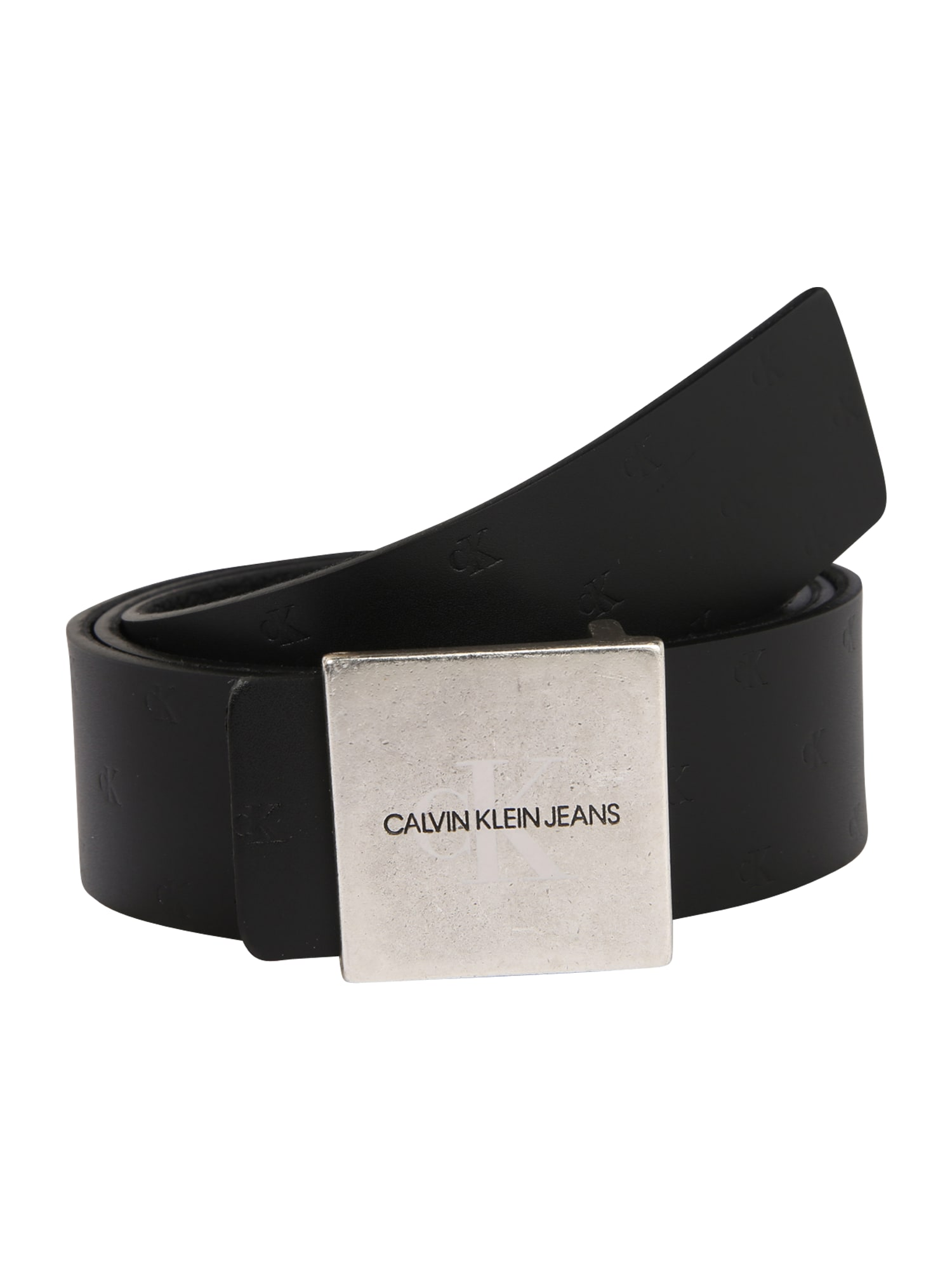Calvin Klein Jeans Diržas 'UNIFORM SQ PLAQUE REV 38MM' juoda / sidabras