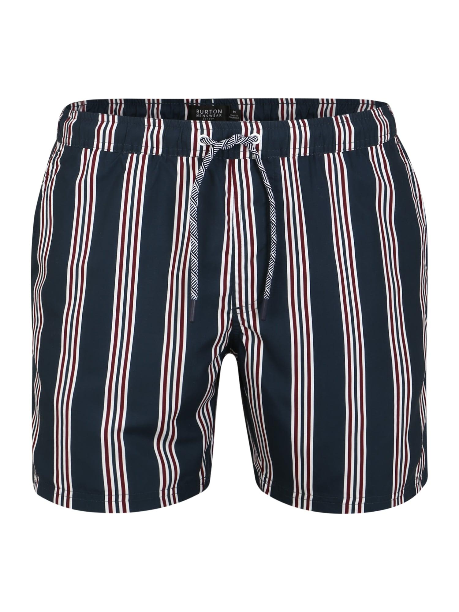 BURTON MENSWEAR LONDON Plavecké šortky  červené / námornícka modrá / biela