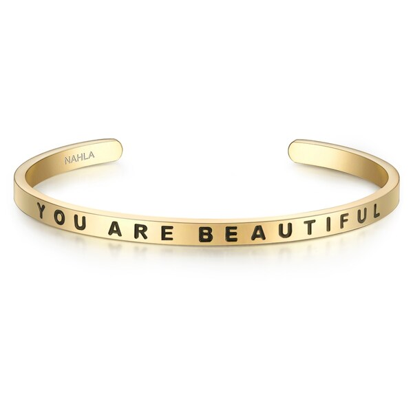 Armbaender für Frauen - Nahla Jewels Armband Bangle mit YOU ARE BEAUTIFUL Gravur gold  - Onlineshop ABOUT YOU