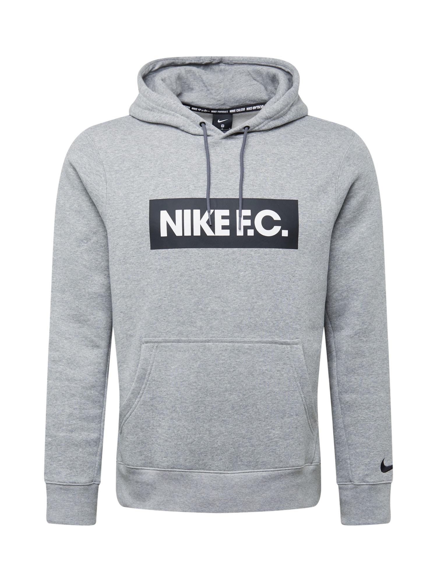 NIKE Sportinio tipo megztinis balta / juoda / šviesiai pilka