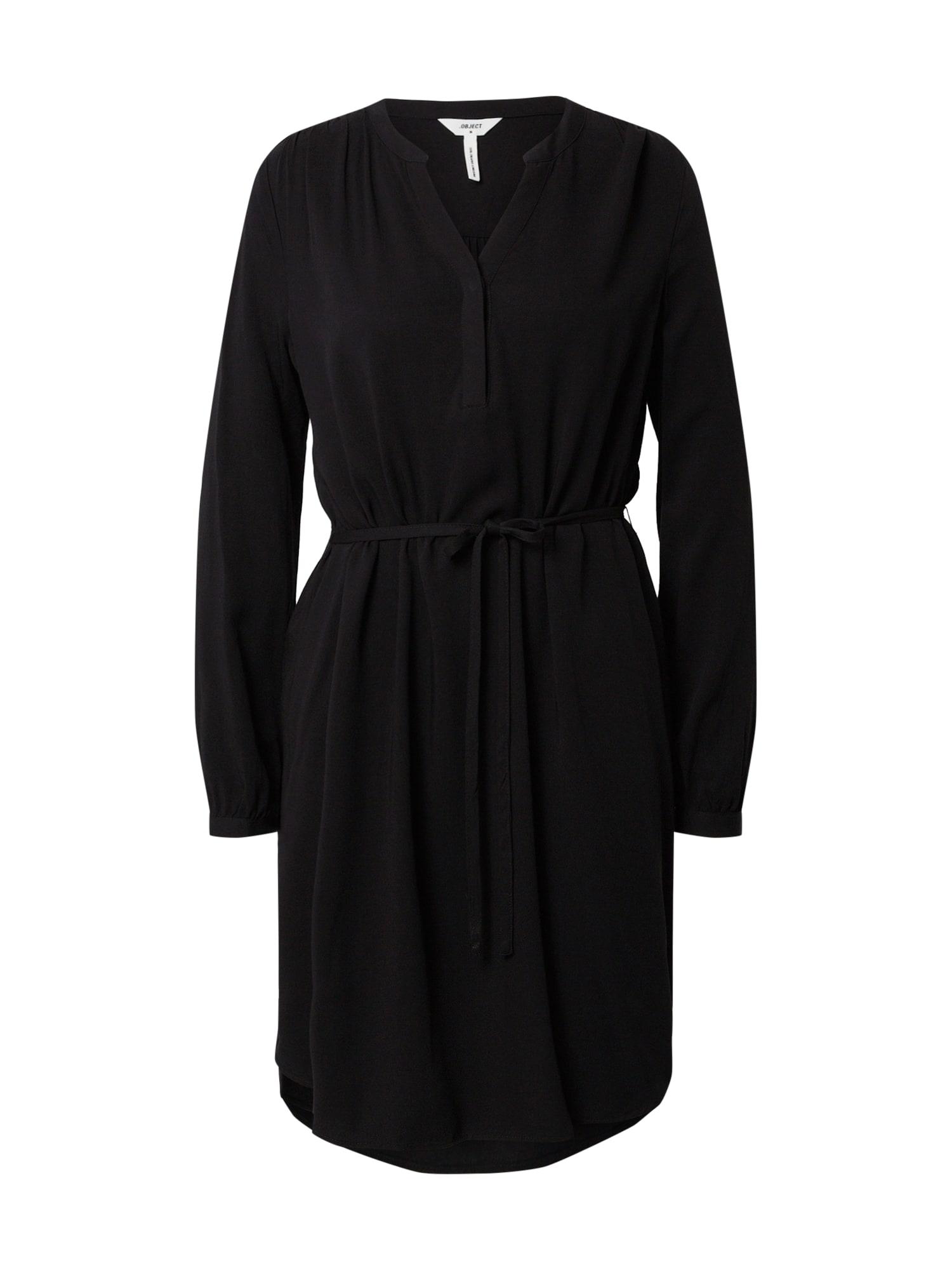 OBJECT Šaty 'OBJBAYA 3/4 V-NECK ABK DRESS NOOS'  čierna