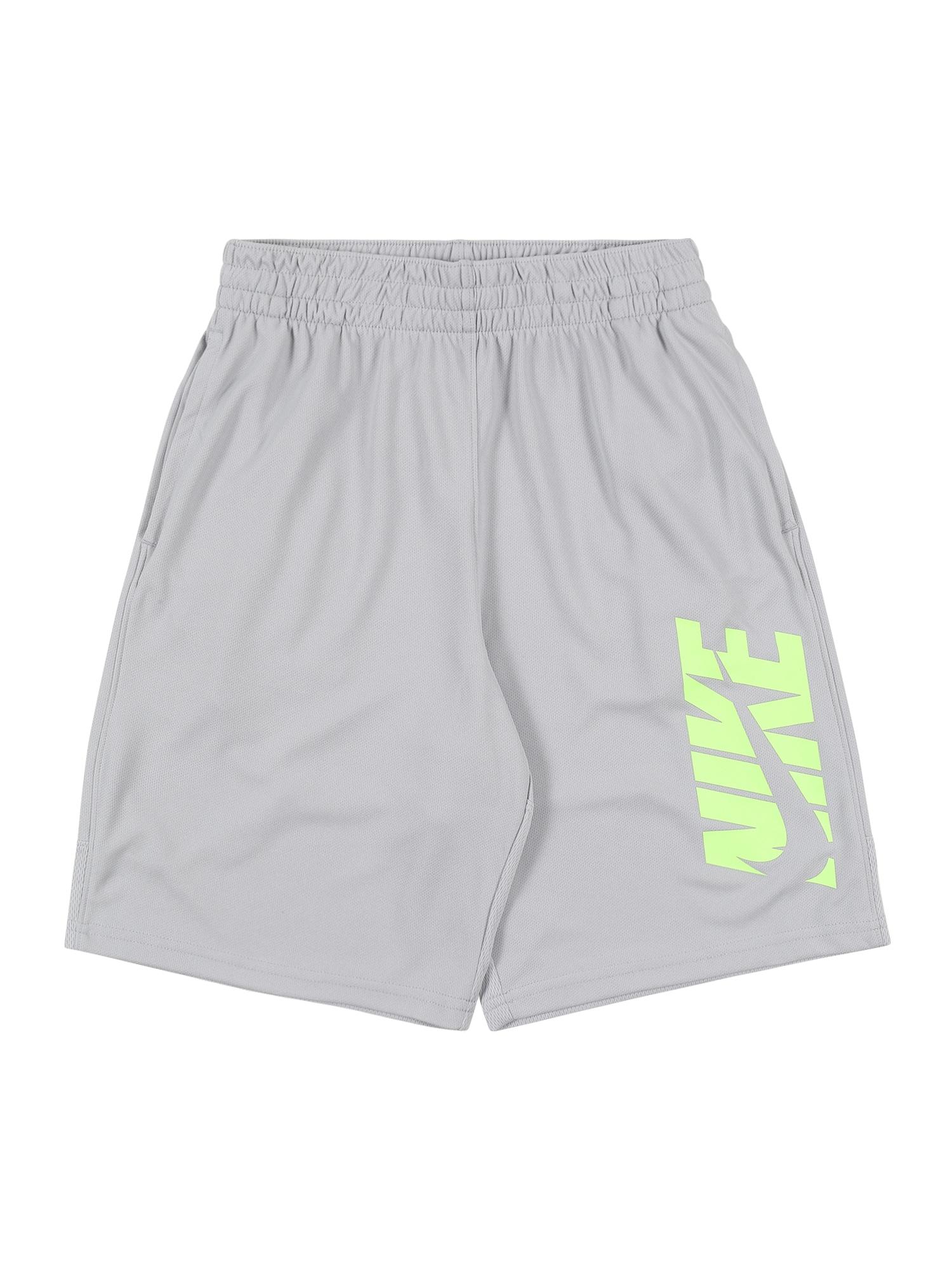 NIKE Športové nohavice  neónovozelená / sivá