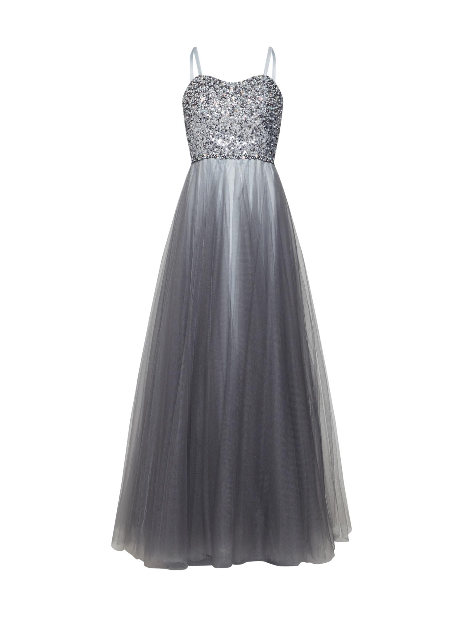Společenské šaty stříbrně šedá stříbrná LUXUAR