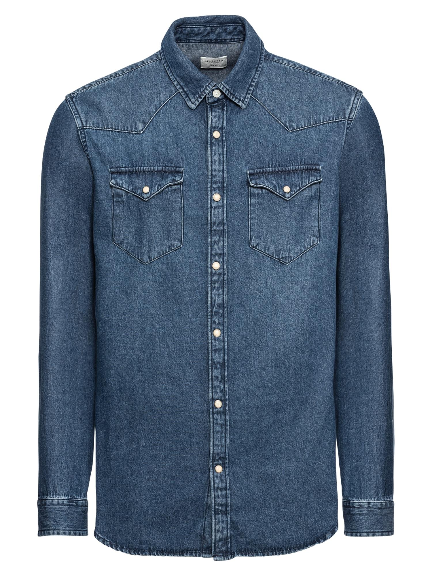 Košile SLHSLIMNED-SMITH SHIRT LS W NOOS modrá džínovina SELECTED HOMME