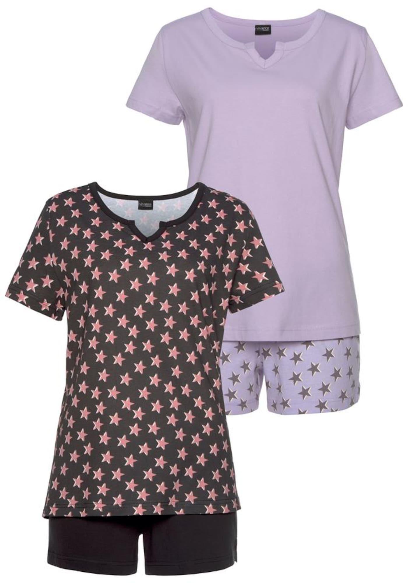 VIVANCE Pižama su šortais alyvinė spalva / šviesiai rožinė / juoda