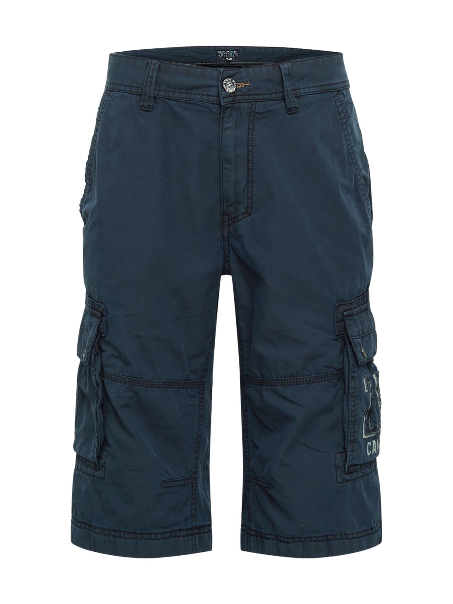 CAMP DAVID Laisvo stiliaus kelnės tamsiai mėlyna jūros spalva / balta