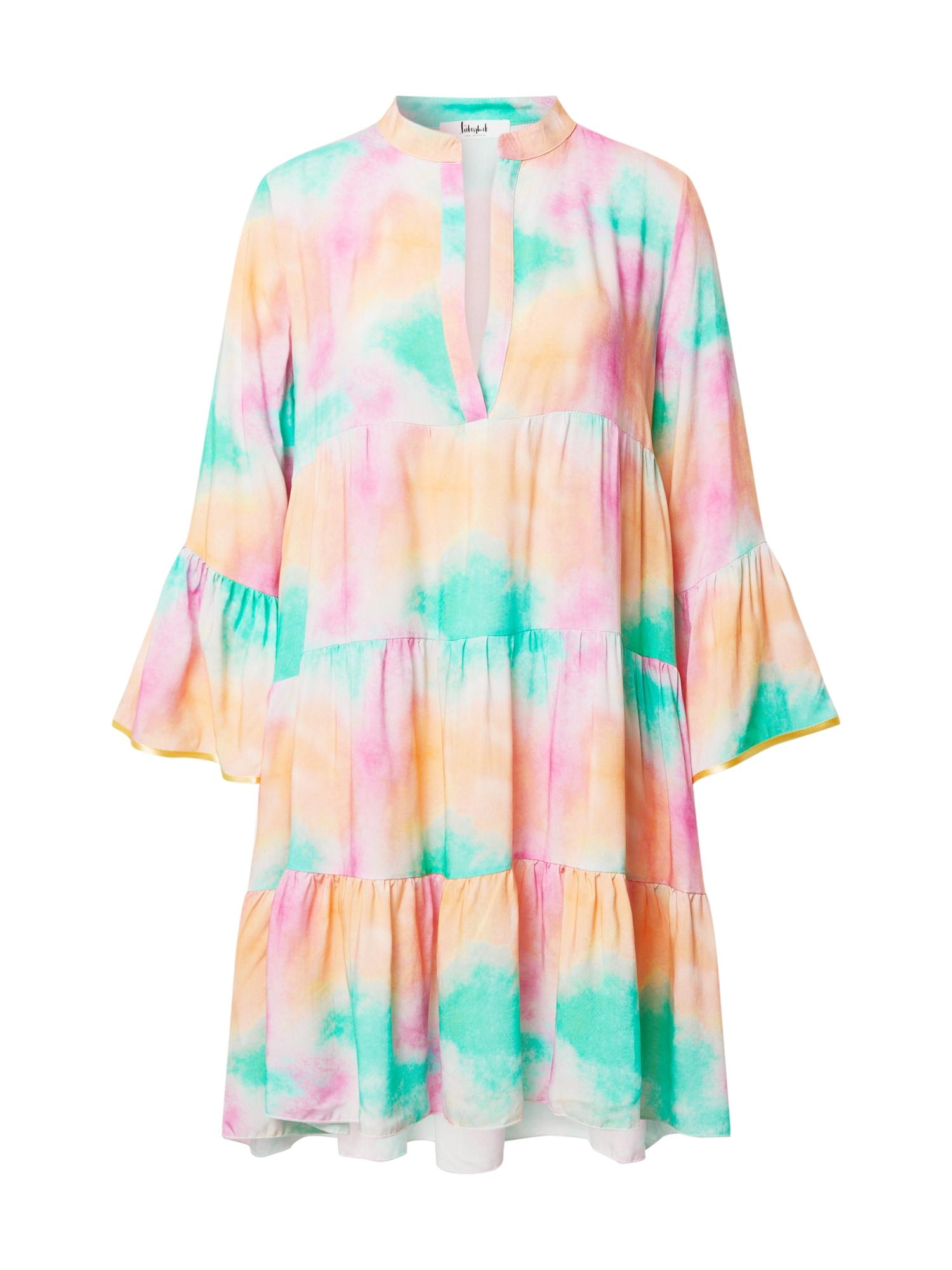 Liebesglück Vasarinė suknelė turkio spalva / lašišų spalva / rožinė