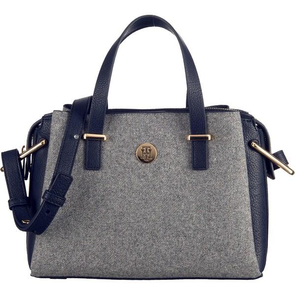 Handtaschen für Frauen - Handtasche 'TH Core Med Satchel Melton' › Tommy Hilfiger › marine graumeliert rot weiß  - Onlineshop ABOUT YOU