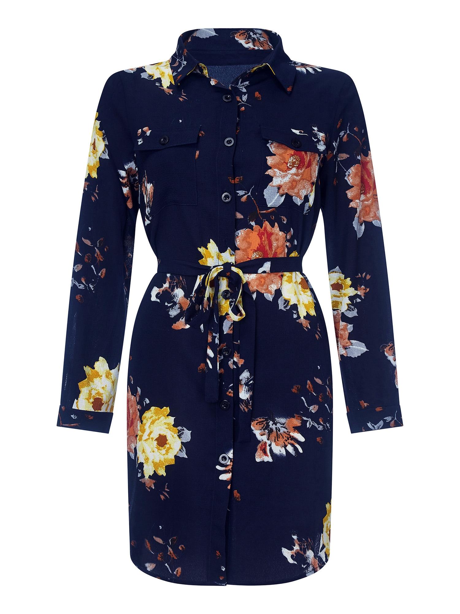 Letní šaty FLORAL PRINT SHIRT DRESS mix barev oranžová černá Mela London