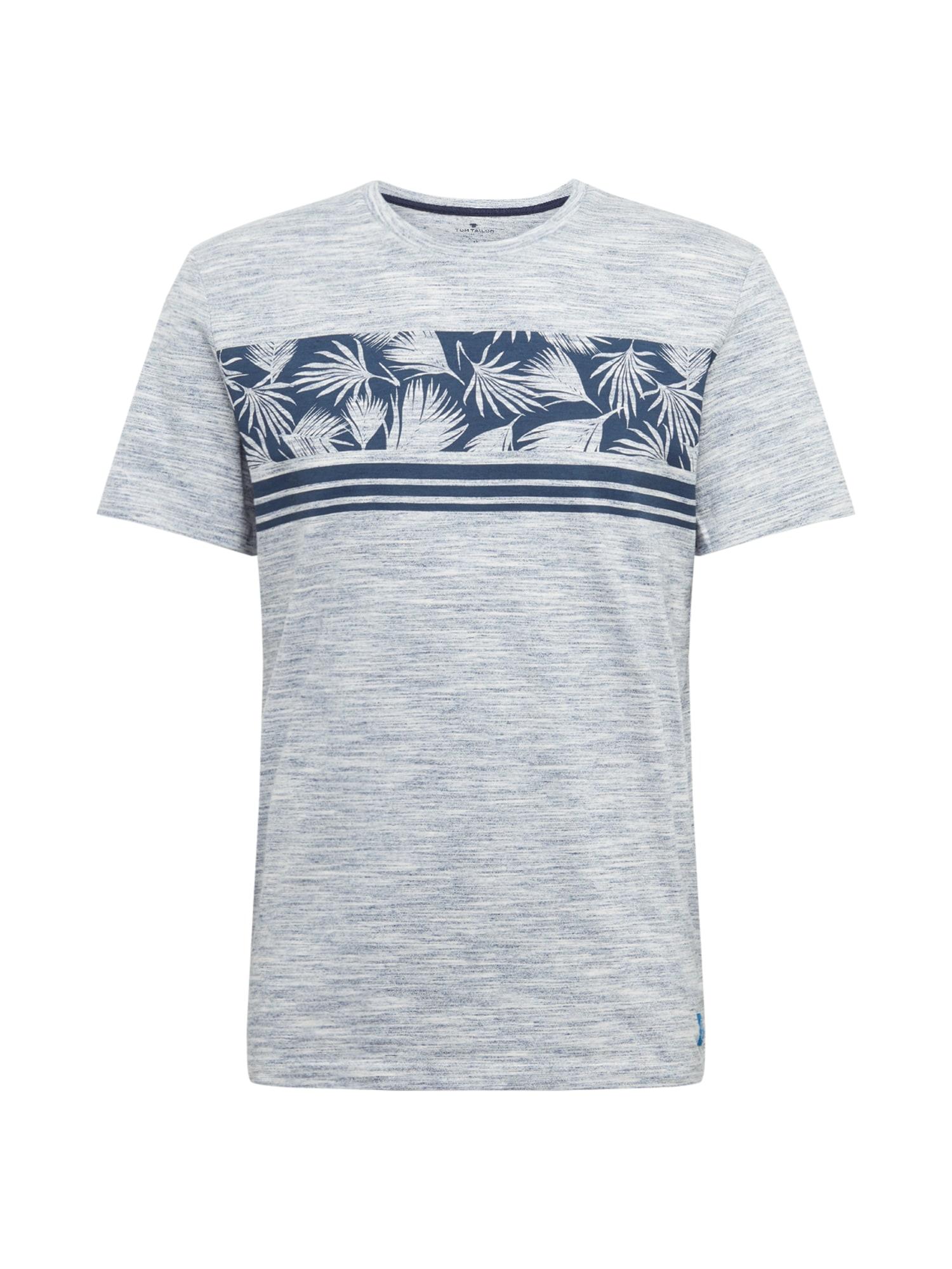 TOM TAILOR Tričko  šedý melír / modrá