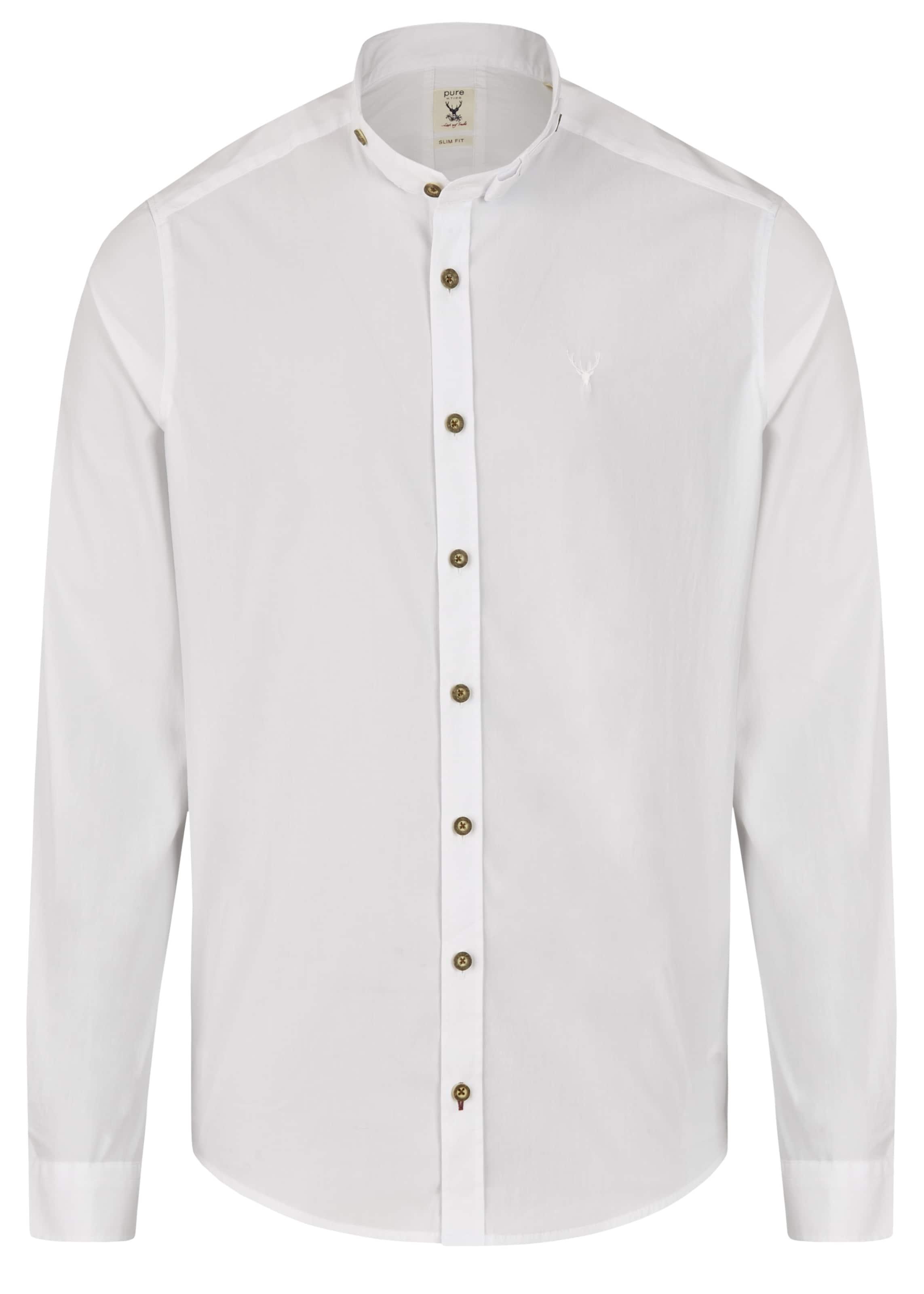 Herren Pure Trachtenhemd blau,  weiß, grau, schwarz, weiß | 04059825514786