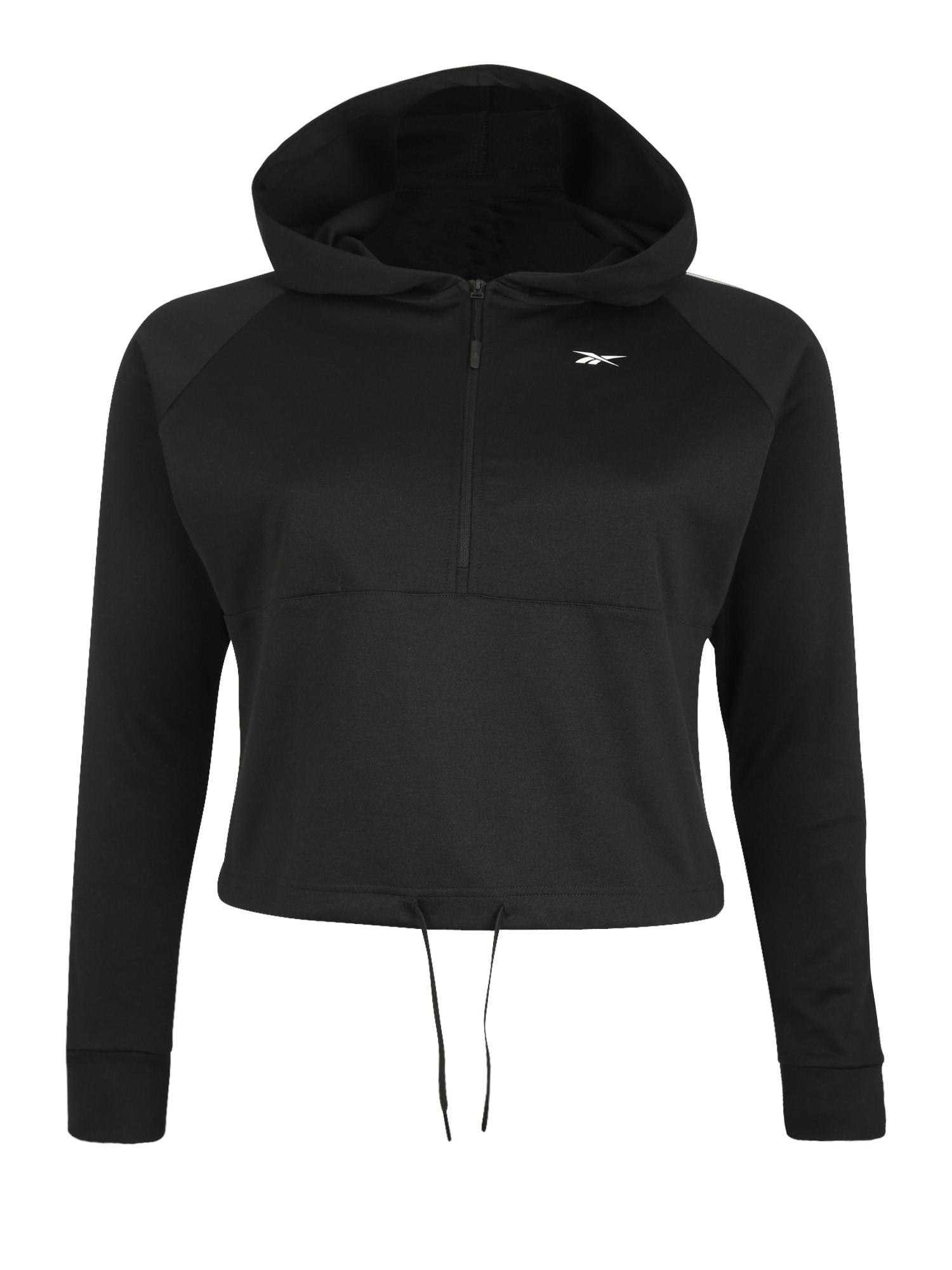 REEBOK Sportinio tipo megztinis 'WOR Quarter Zip' juoda / balta