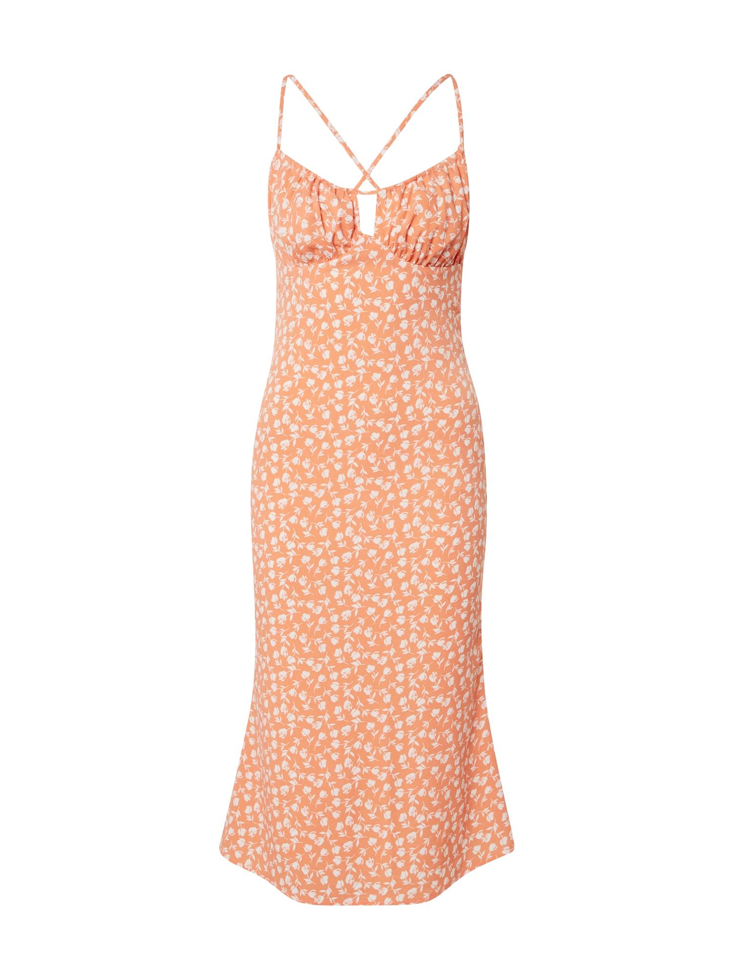 Fashion Union Vasarinė suknelė 'EVA' balta / oranžinė
