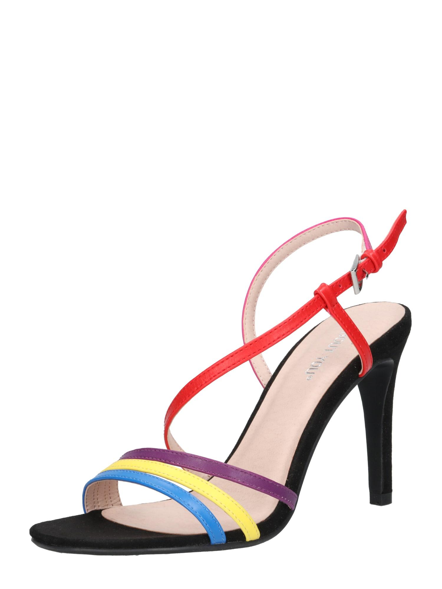 ABOUT YOU Basutės su dirželiais 'Valerie' mišrios spalvos / mėlyna / geltona / purpurinė / raudona / rožinė