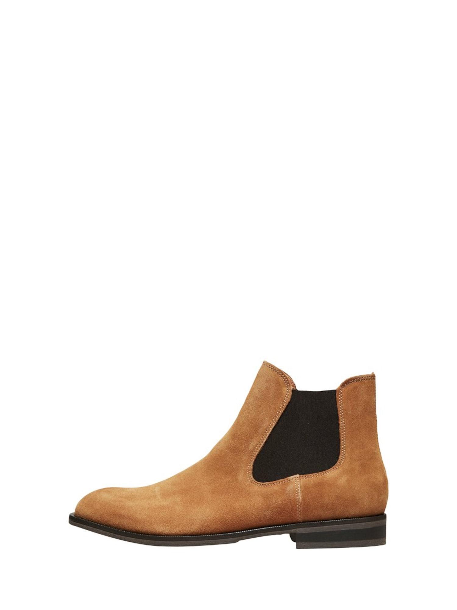 SELECTED HOMME Chelsea batai juoda / ruda (konjako)