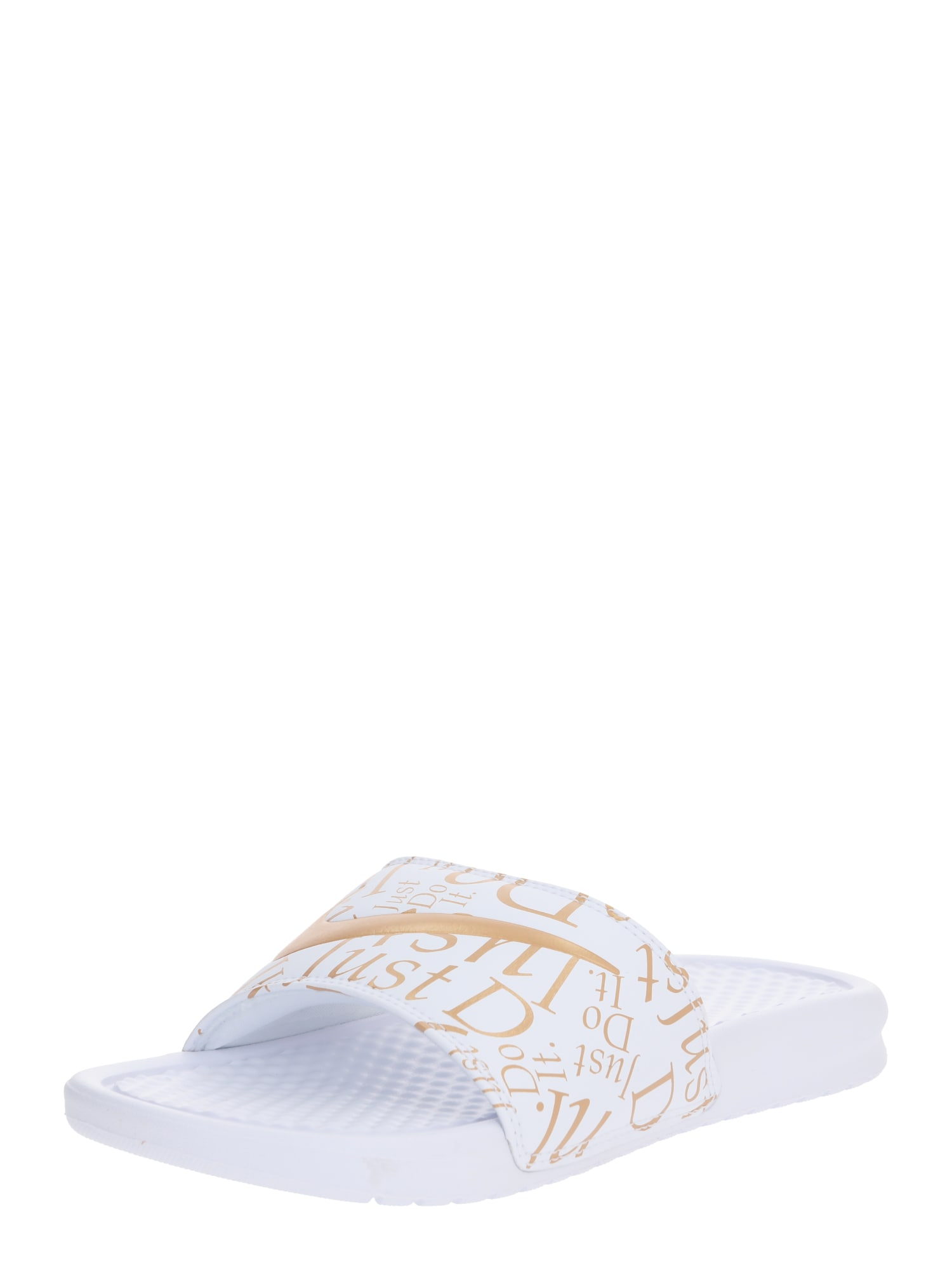 Nike Sportswear Šlepetės 'Wmns Benassi Just do it' balta / auksas
