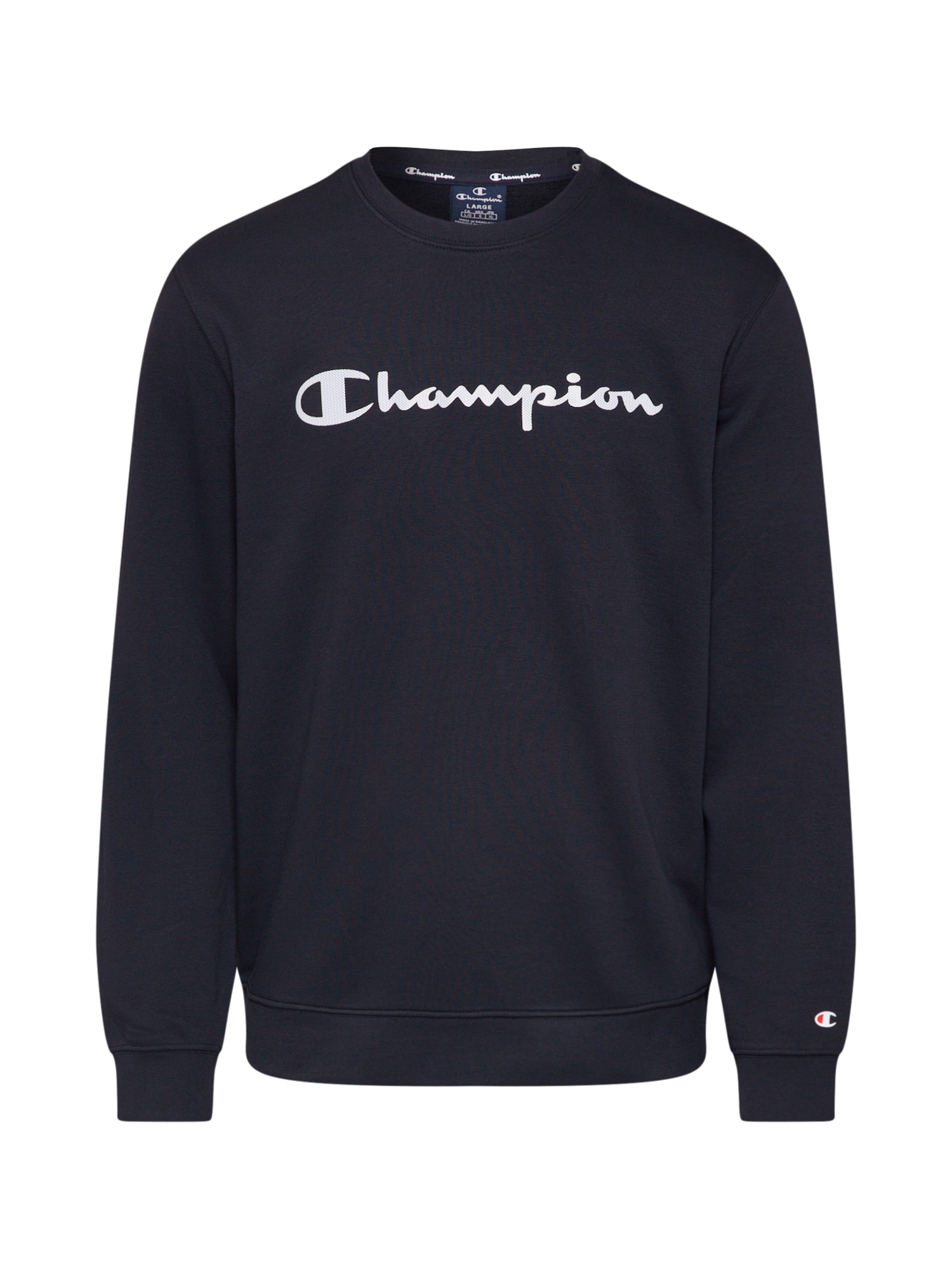 Champion Authentic Athletic Apparel Megztinis be užsegimo 'CREWNECK SWEATSHIRT' juoda / balta