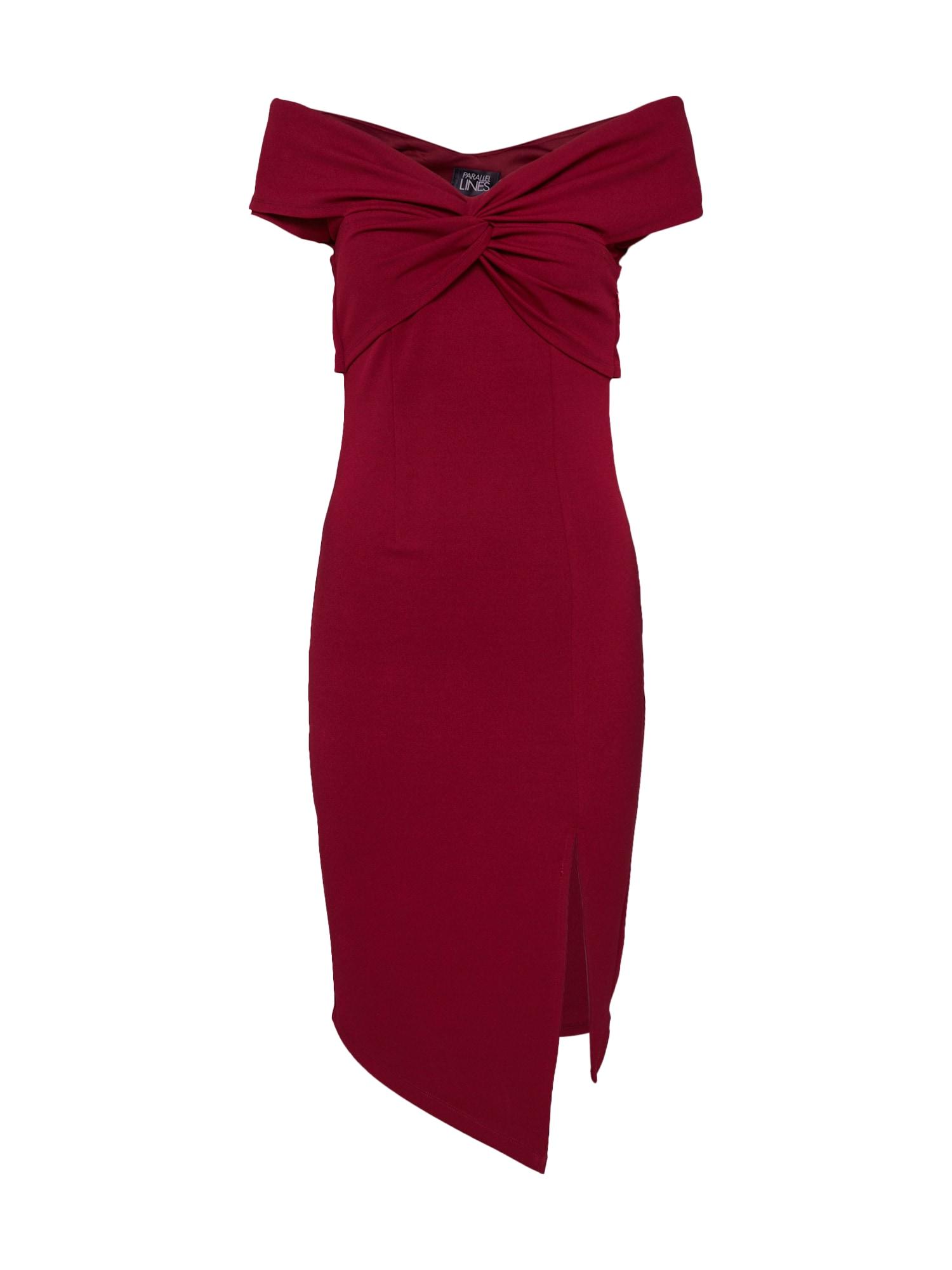 Koktejlové šaty vínově červená Parallel Lines