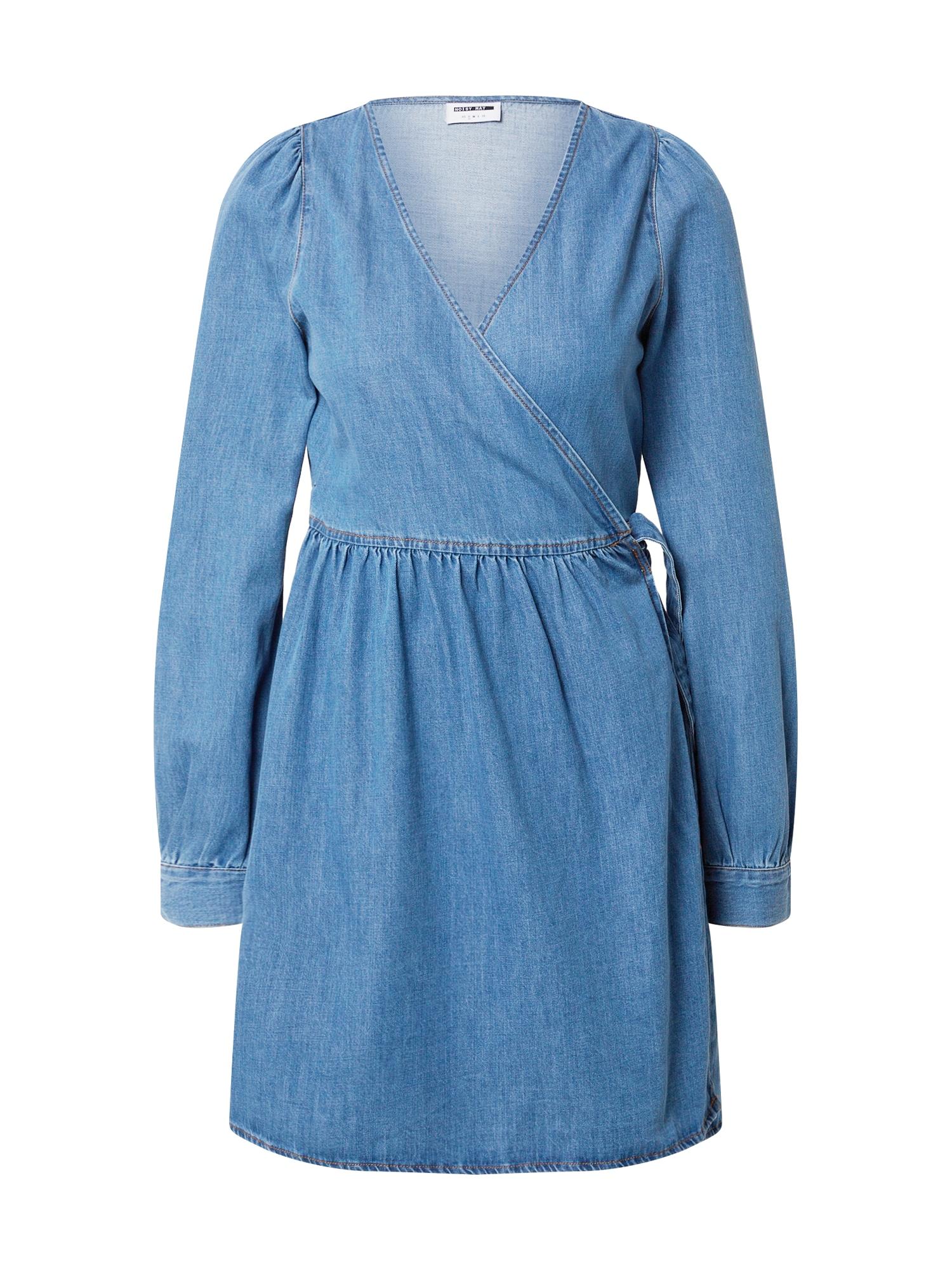 Noisy may Šaty 'NMISOLDE LS WRAP DNM DRESS BI023MB'  svetlomodrá / modrá denim