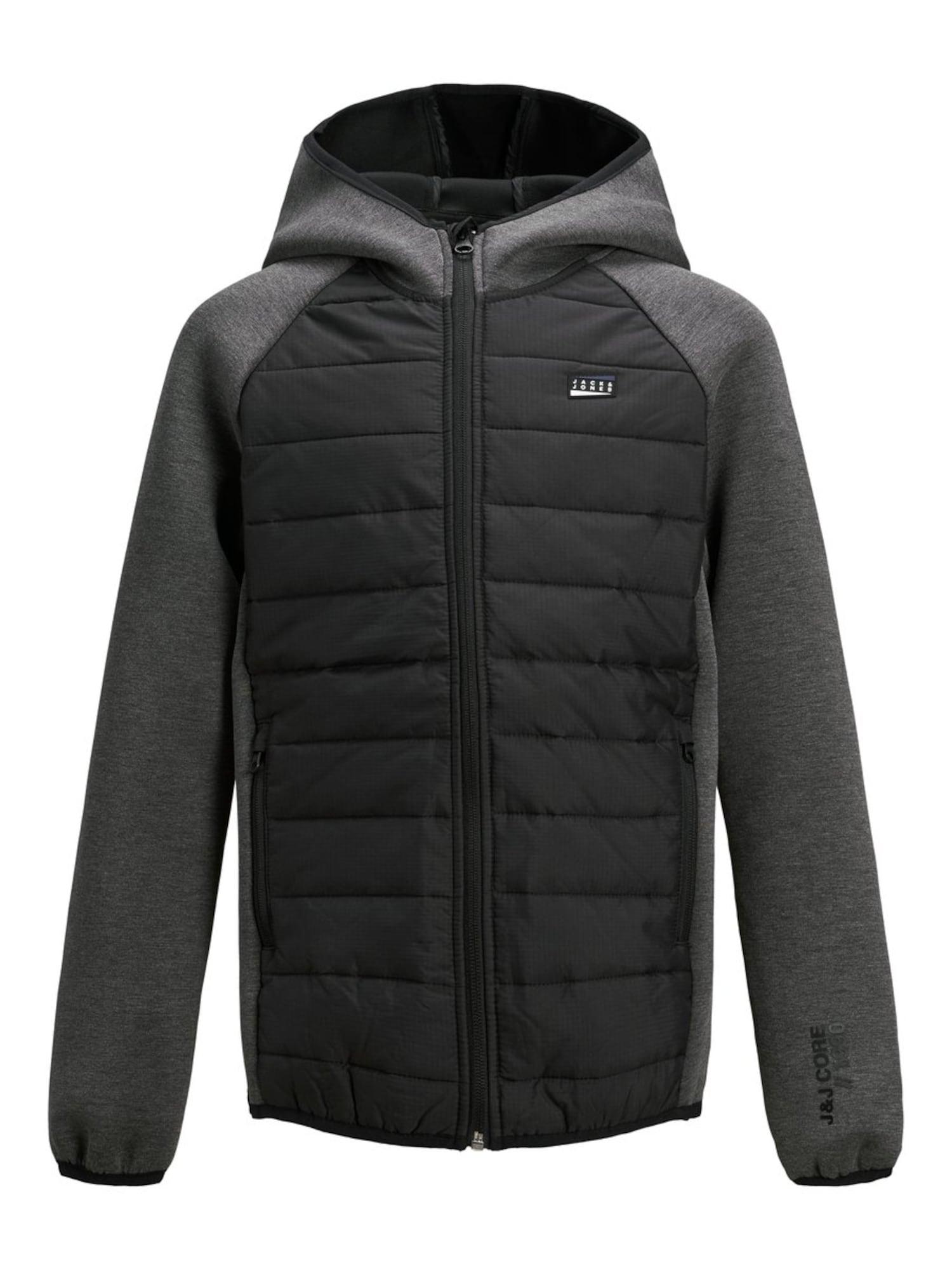 Jack & Jones Junior Prechodná bunda  čierna / sivá