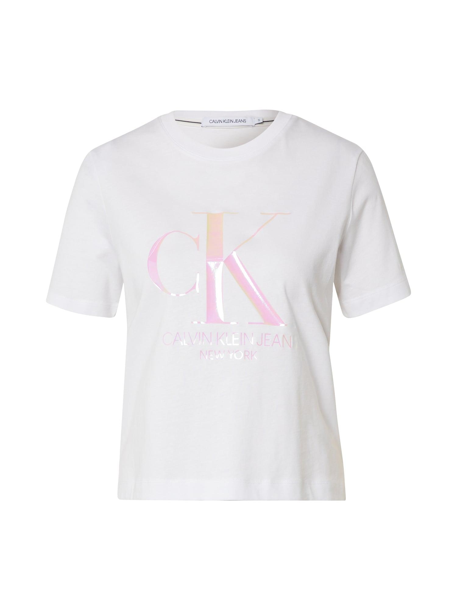 Calvin Klein Marškinėliai 'IRIDESCENT' balta / rožinė
