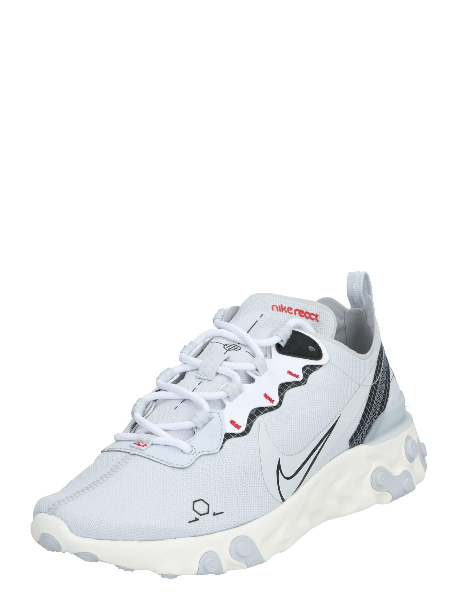 Nike Sportswear Sportbačiai be auliuko 'REACT ELEMENT 55' balta / platininė spalva / juoda