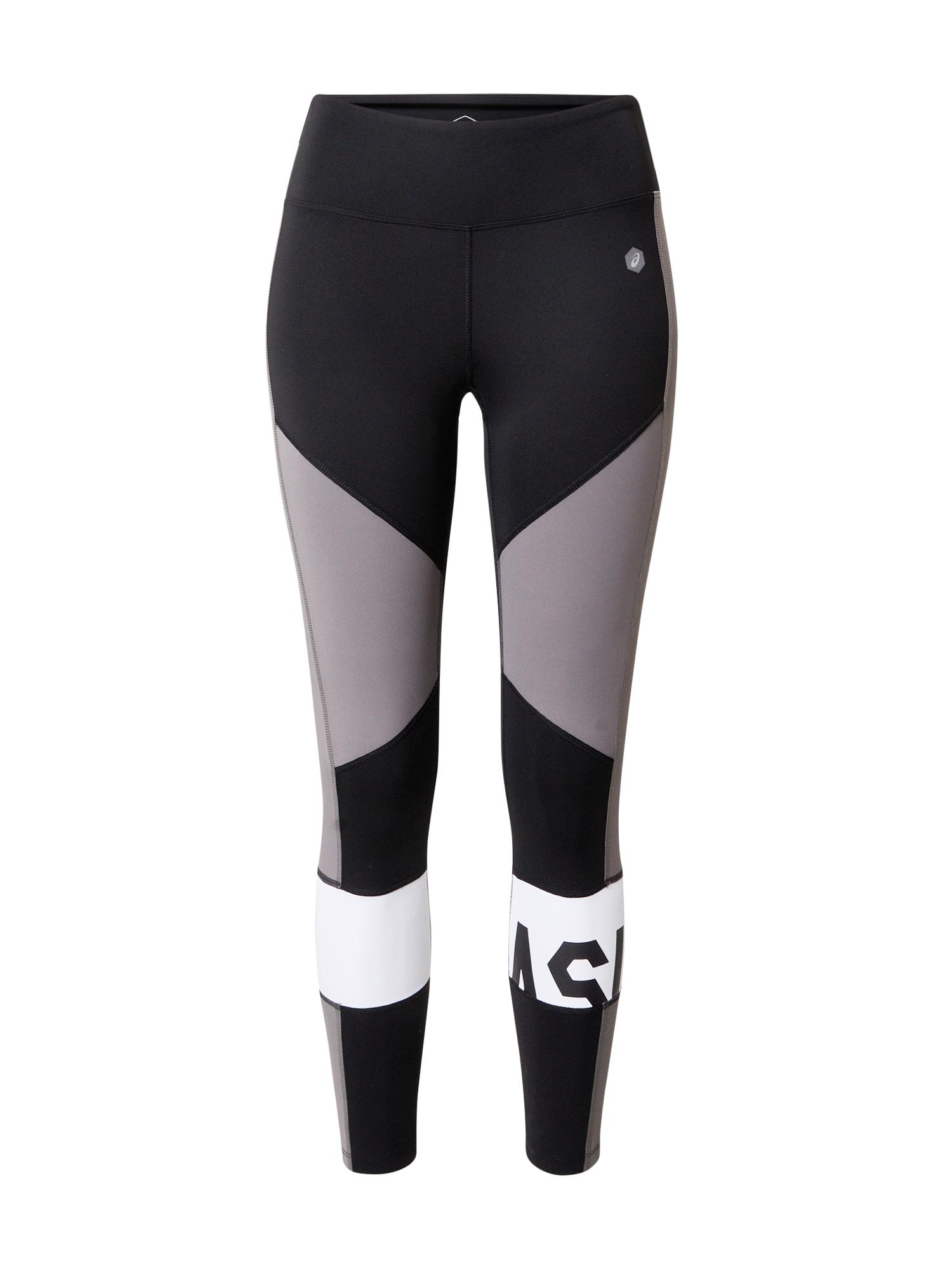ASICS Športové nohavice  sivá / čierna / biela