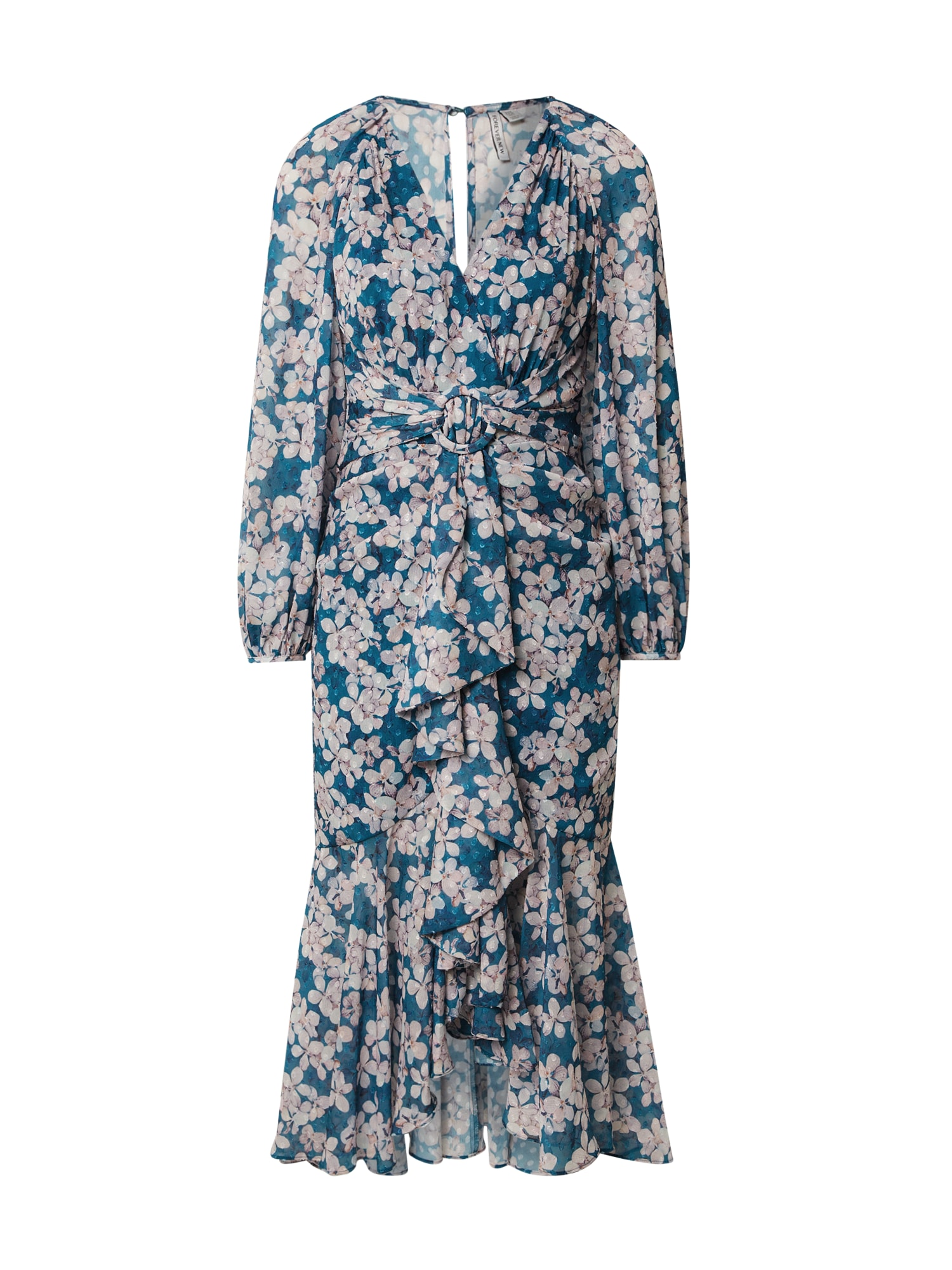 Forever New Vasarinė suknelė 'WAIST SASH' balta / mėlyna
