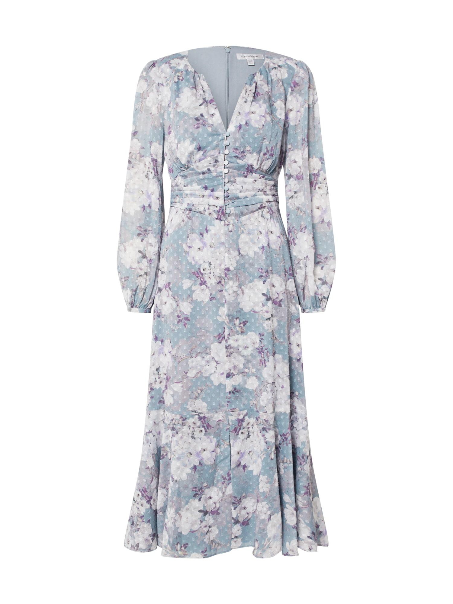 Forever New Vasarinė suknelė 'RENEE DOBBY MIDI DRESS' balta / šviesiai mėlyna