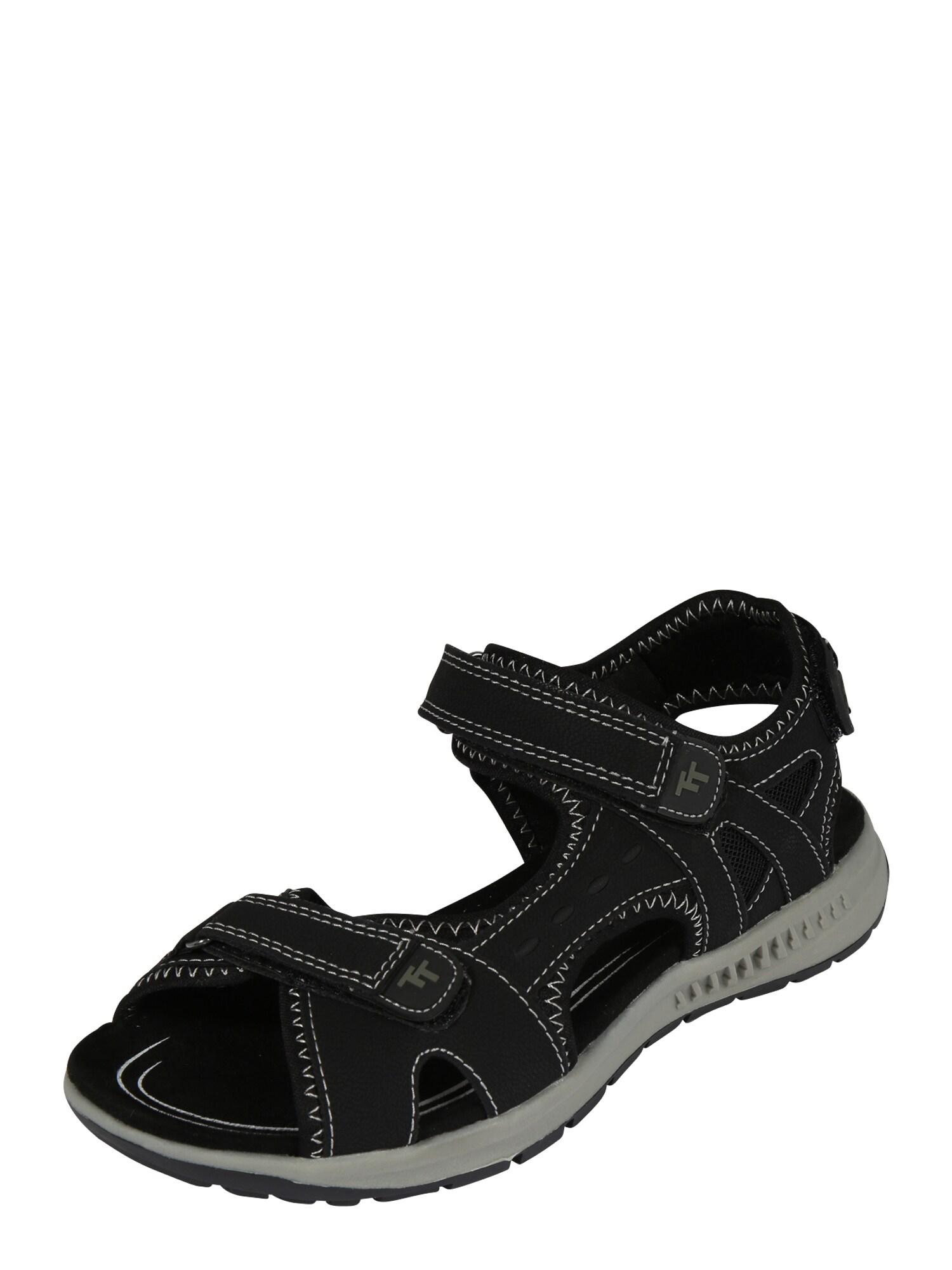 TOM TAILOR Sportinio tipo sandalai juoda / balta