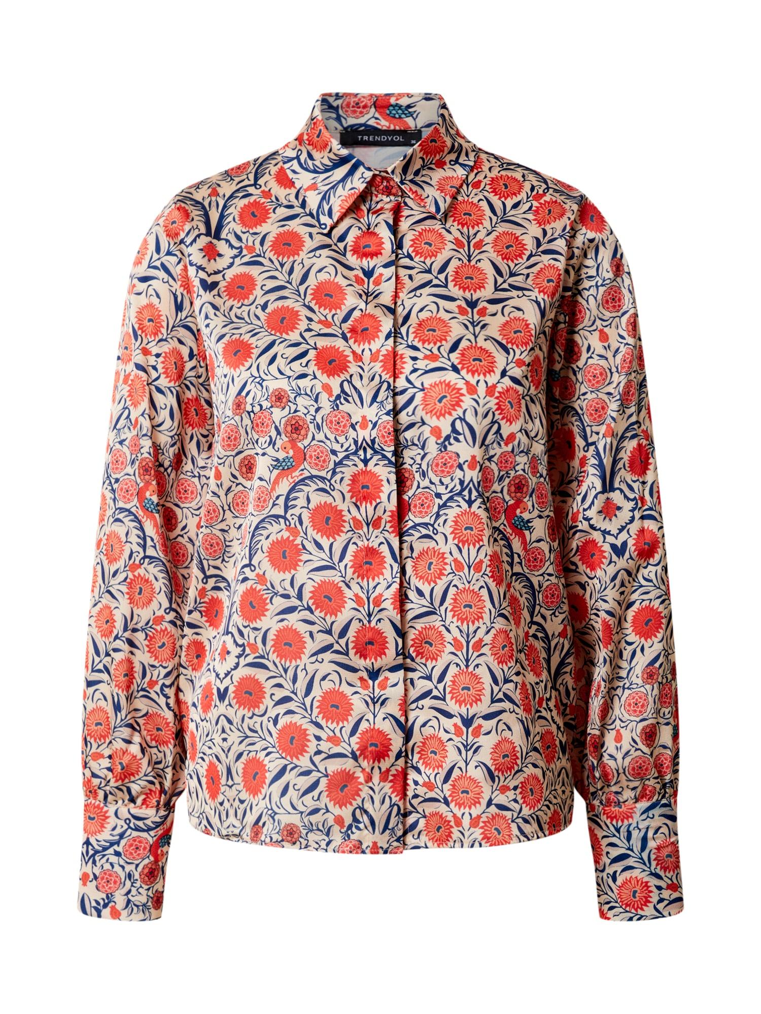 Trendyol Tričko  béžová / červené / modré