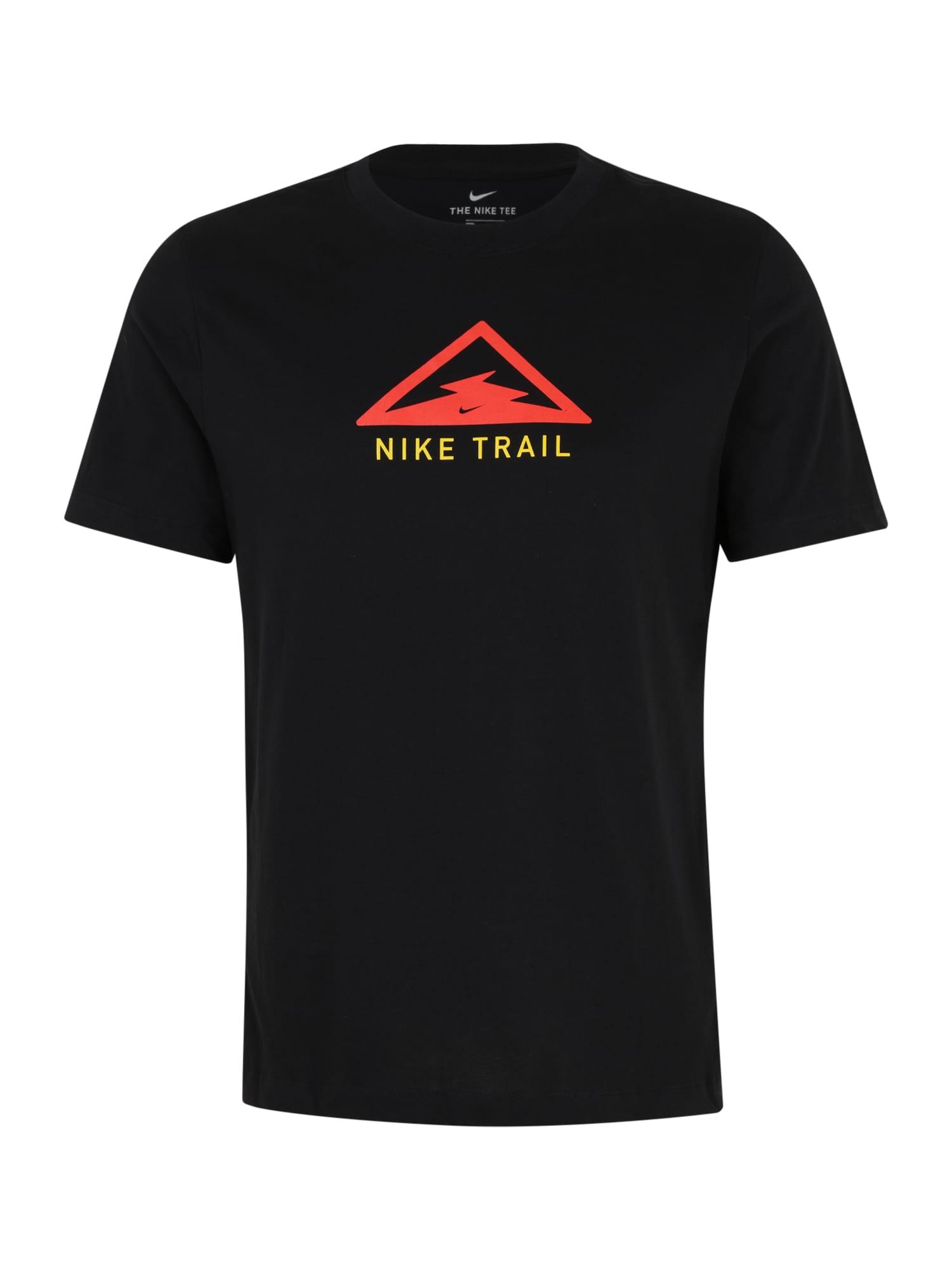 NIKE Sportiniai marškinėliai 'Trail' juoda / raudona