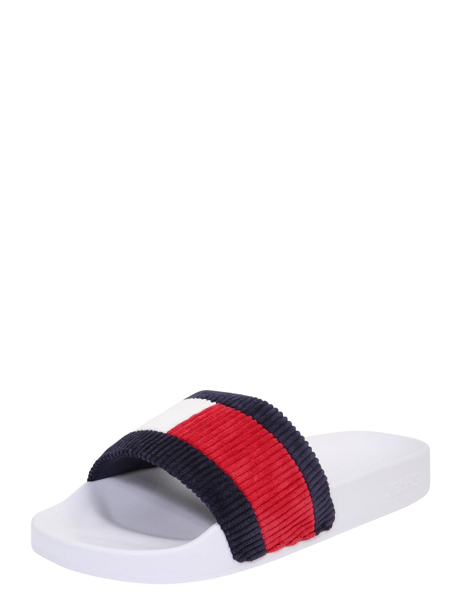 Tommy Jeans Šľapky 'Corduroy'  biela / tmavomodrá / červená