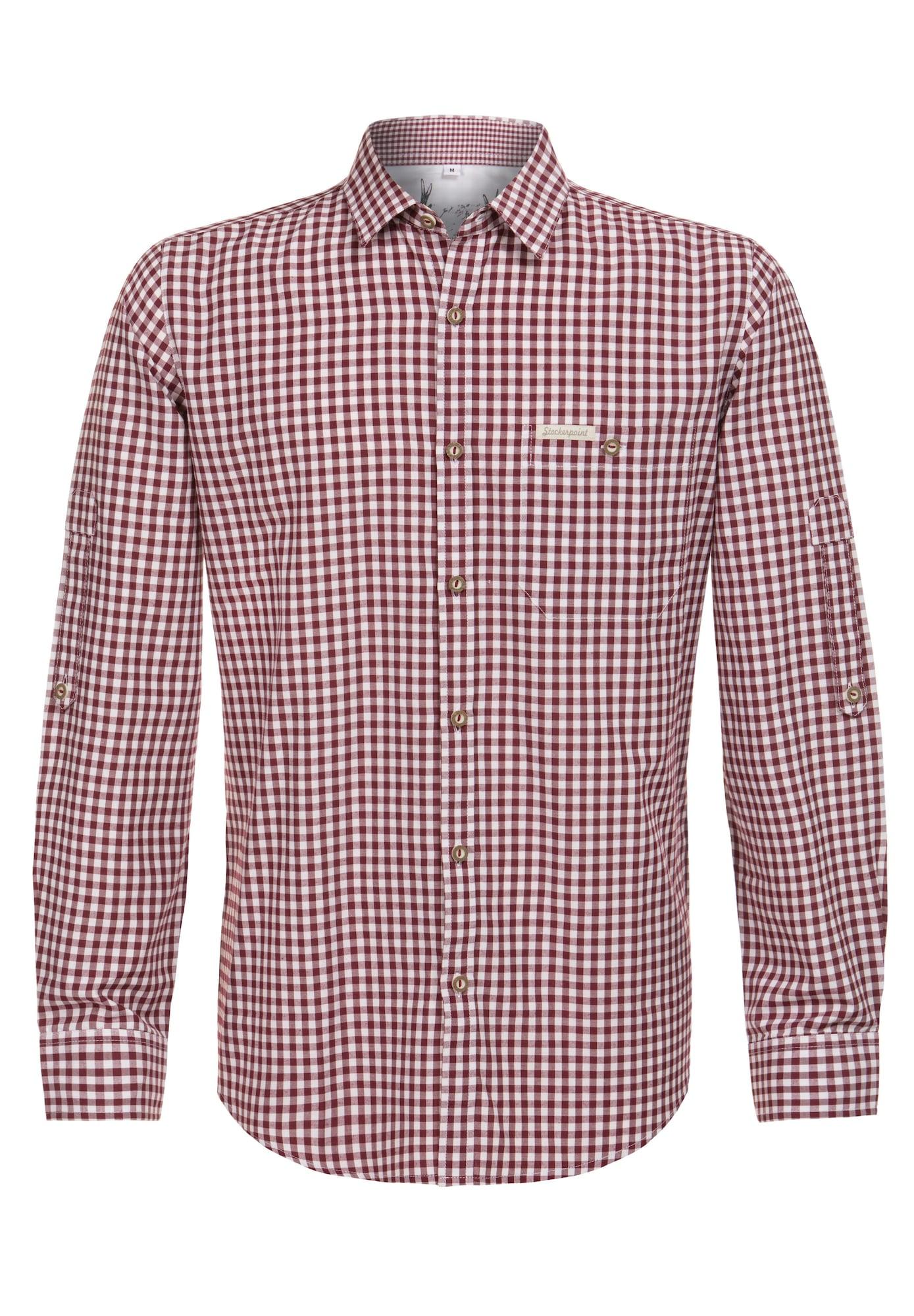 STOCKERPOINT Neliemenuoti marškiniai 'Campos3' balta / vyšninė spalva