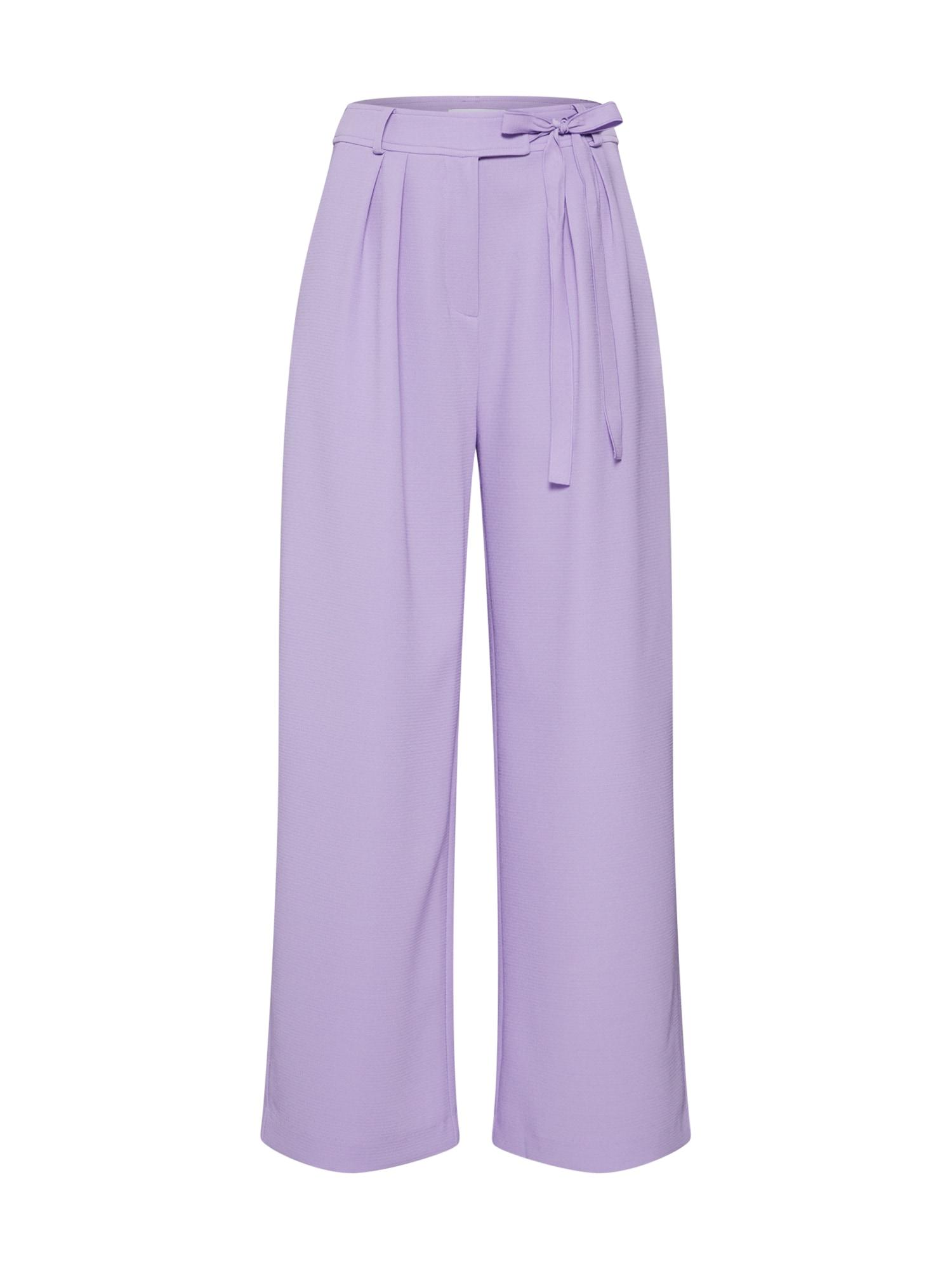 Kalhoty se sklady v pase Magritt 10456 bledě fialová Samsoe & Samsoe
