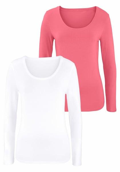 Oberteile für Frauen - VIVANCE Langarmshirts (2 Stück) aus Baumwoll Stretch lachs weiß  - Onlineshop ABOUT YOU