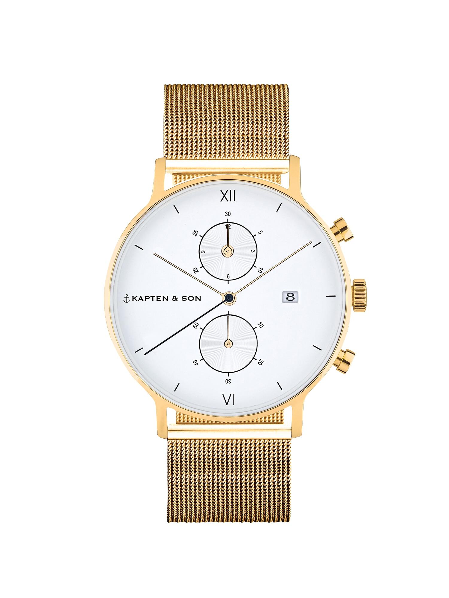 Kapten & Son Analógové hodinky  zlatá / biela