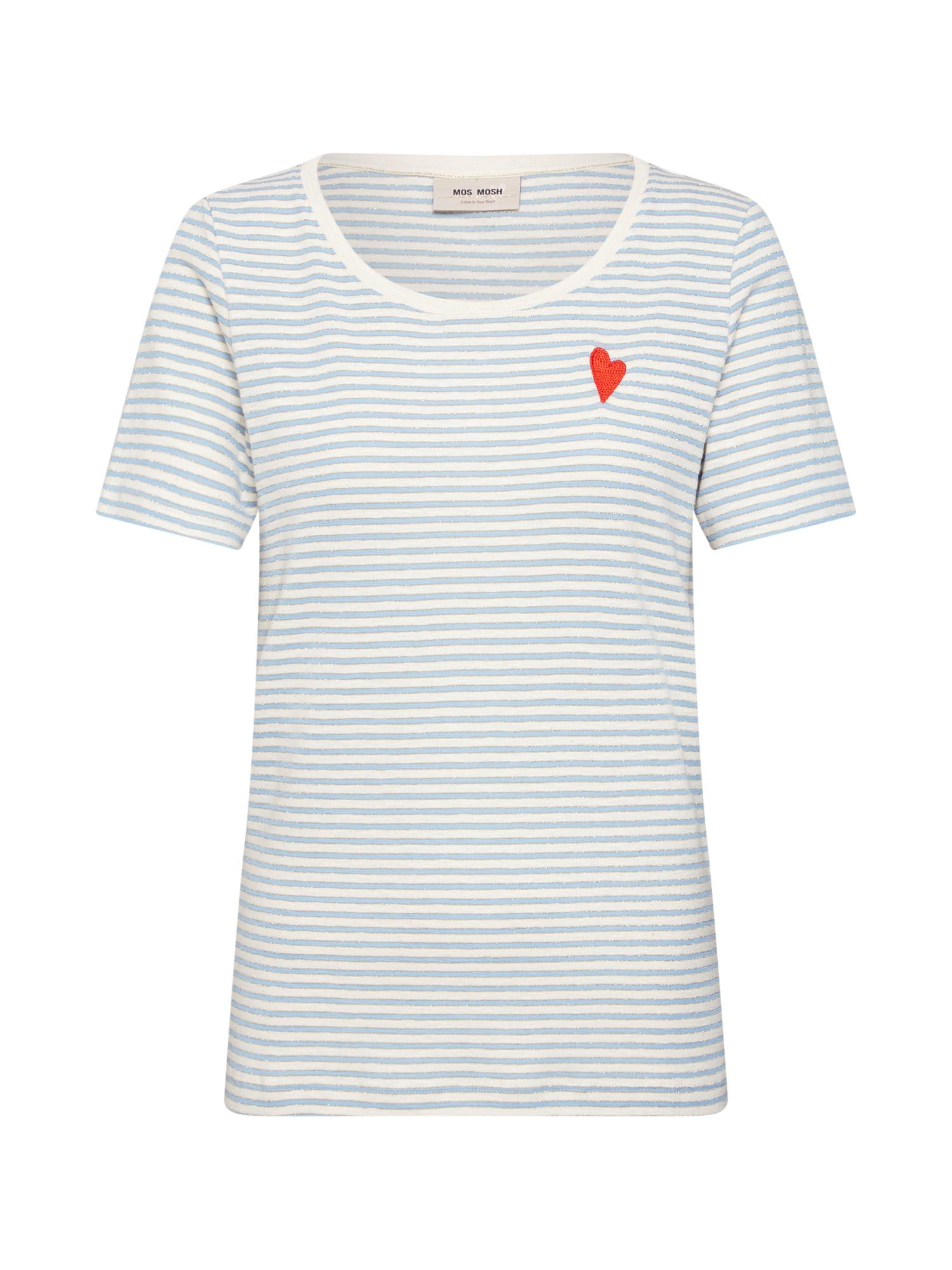 Tričko Kenia Stripe O-neck krémová světlemodrá červená MOS MOSH