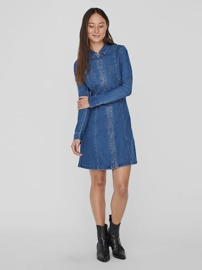Noisy May Lisa langärmeliges Jeanskleid mit Vorderreißverschluss
