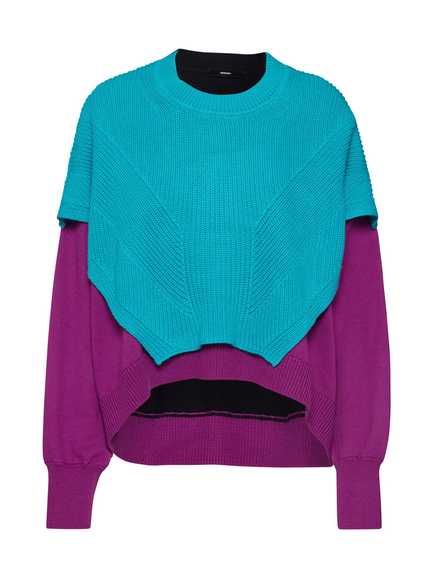 DIESEL Megztinis 'M-NEXY' turkio spalva / purpurinė