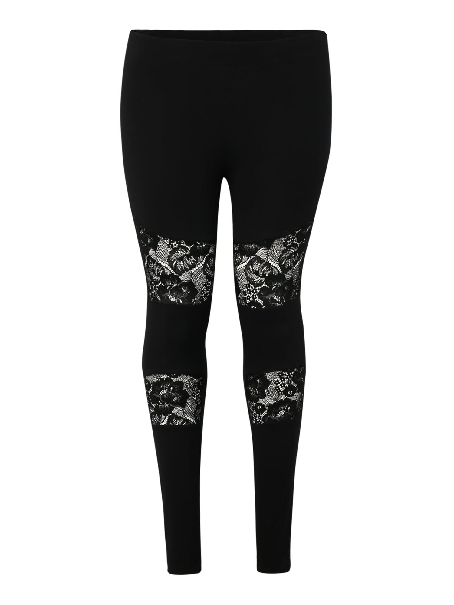 Kalhoty Ladies Laces Inset Leggings černá Urban Classics Curvy