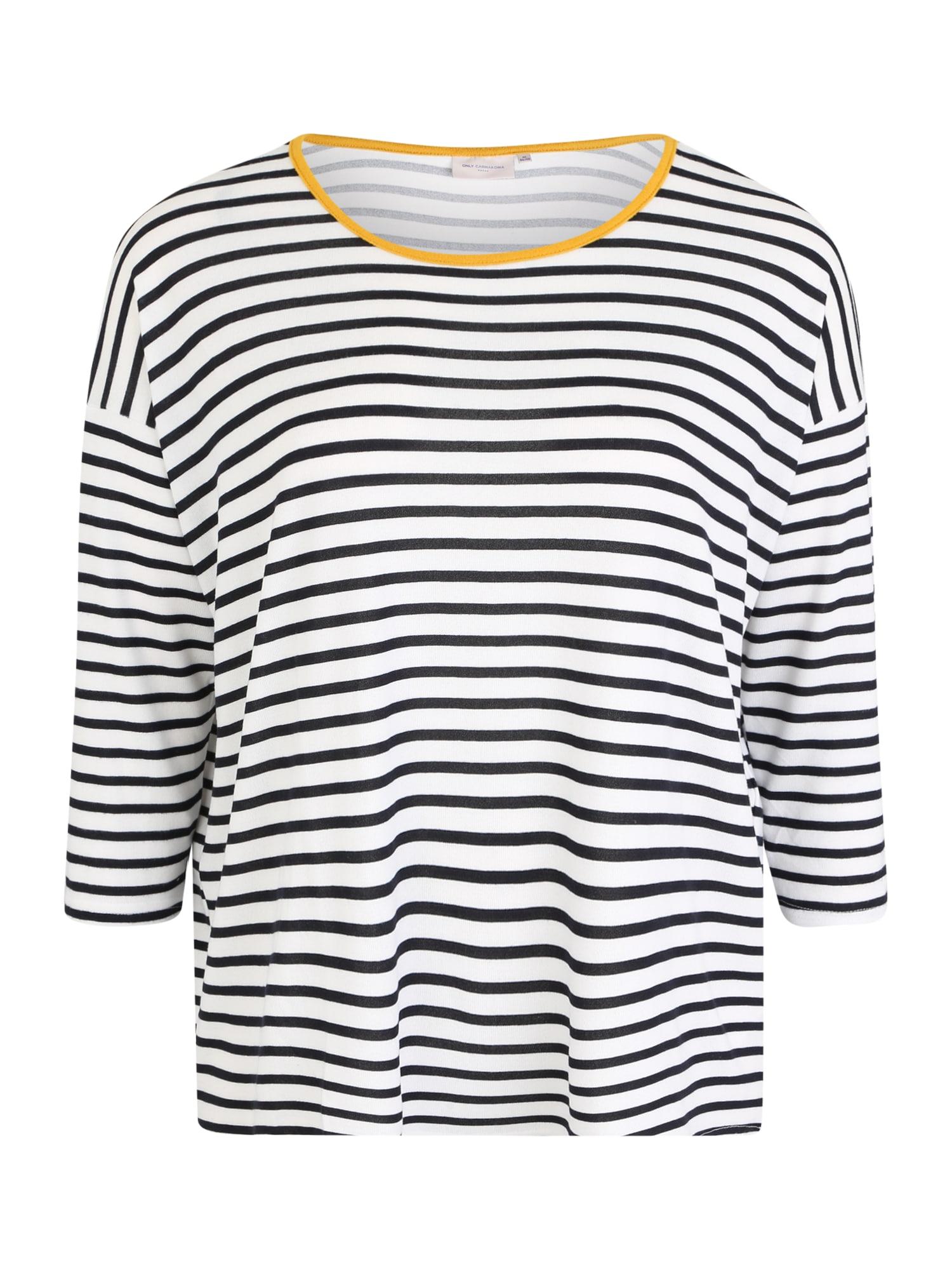 ONLY Carmakoma Marškinėliai 'CARALBA' geltona / juoda / balta