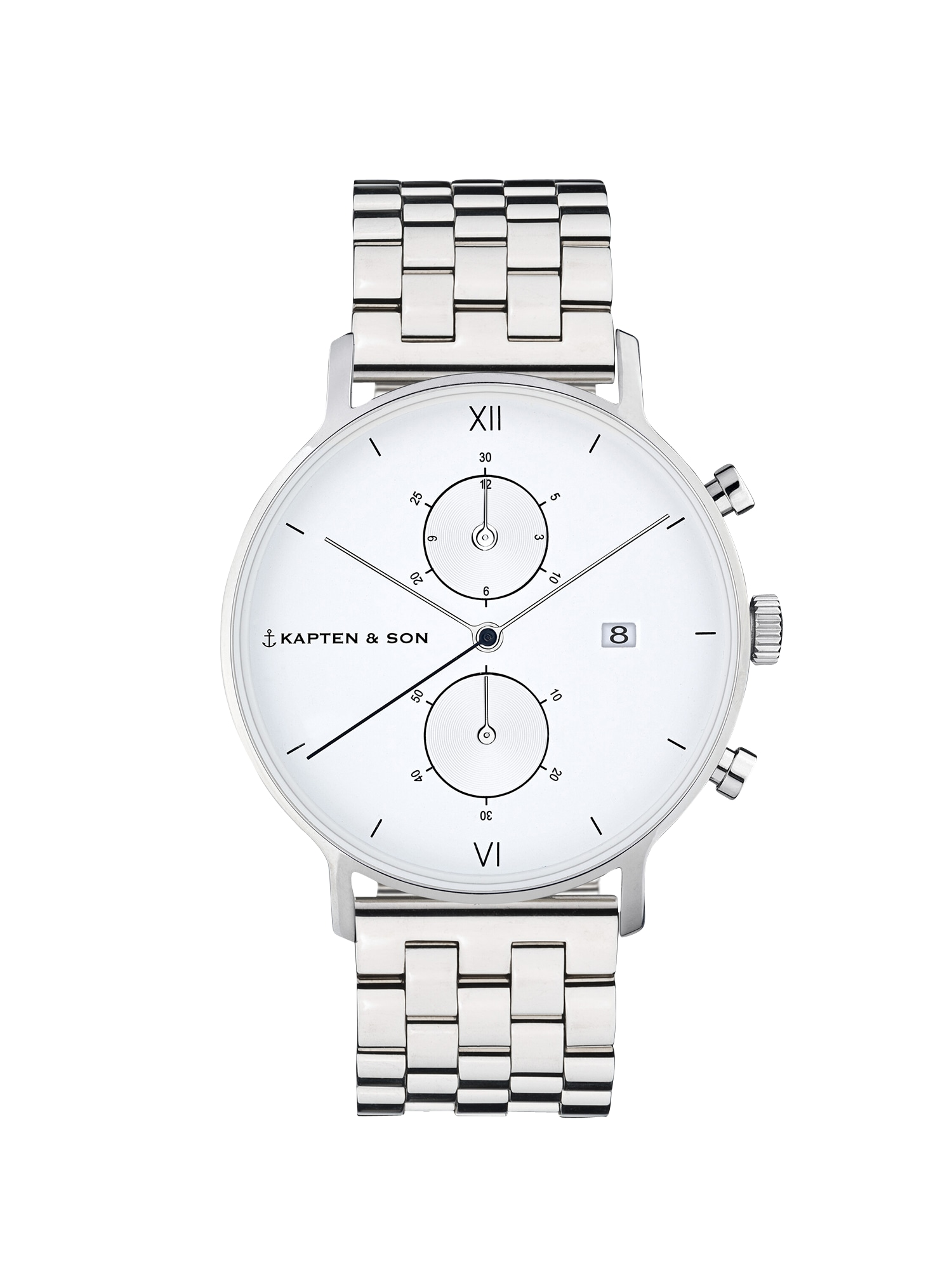 Kapten & Son Analógové hodinky 'Small Chrono Steel'  strieborná