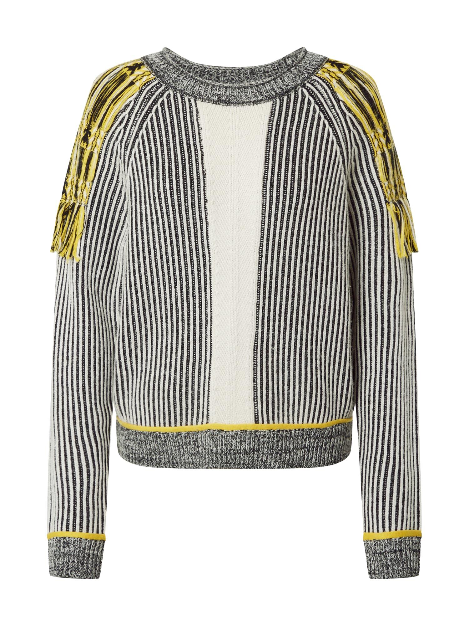 PATRIZIA PEPE Megztinis geltona / balta / juoda