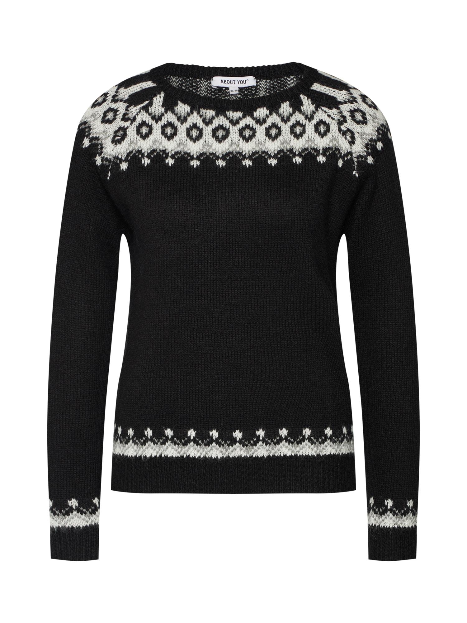 ABOUT YOU Megztinis 'Friederike' juoda / balta